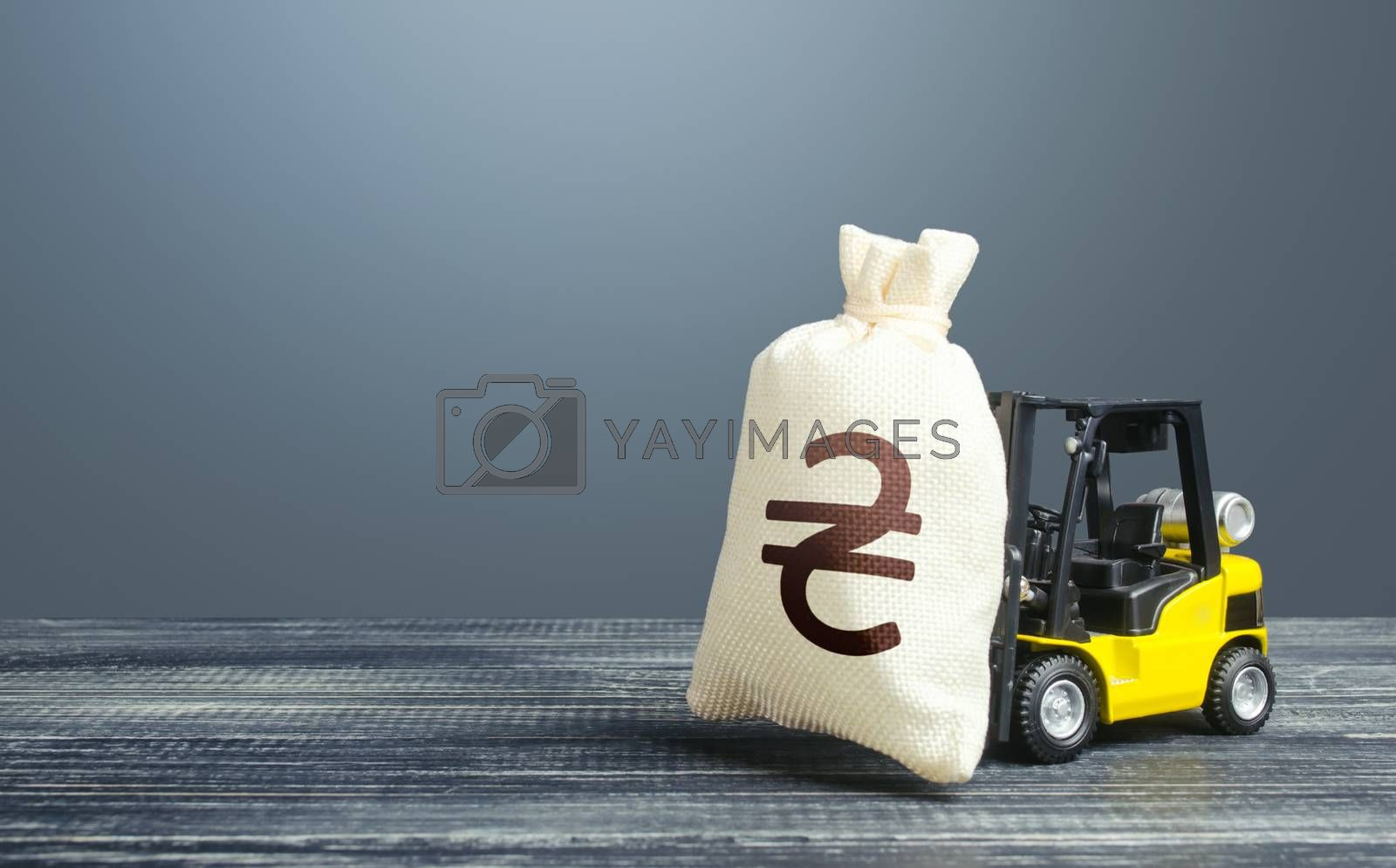 Forklift transports a ukrainian hryvnia money bag. Investing in economy. Economic support, lending. Crisis recovery measures. Borrowing on capital market. High debt load. Corruption