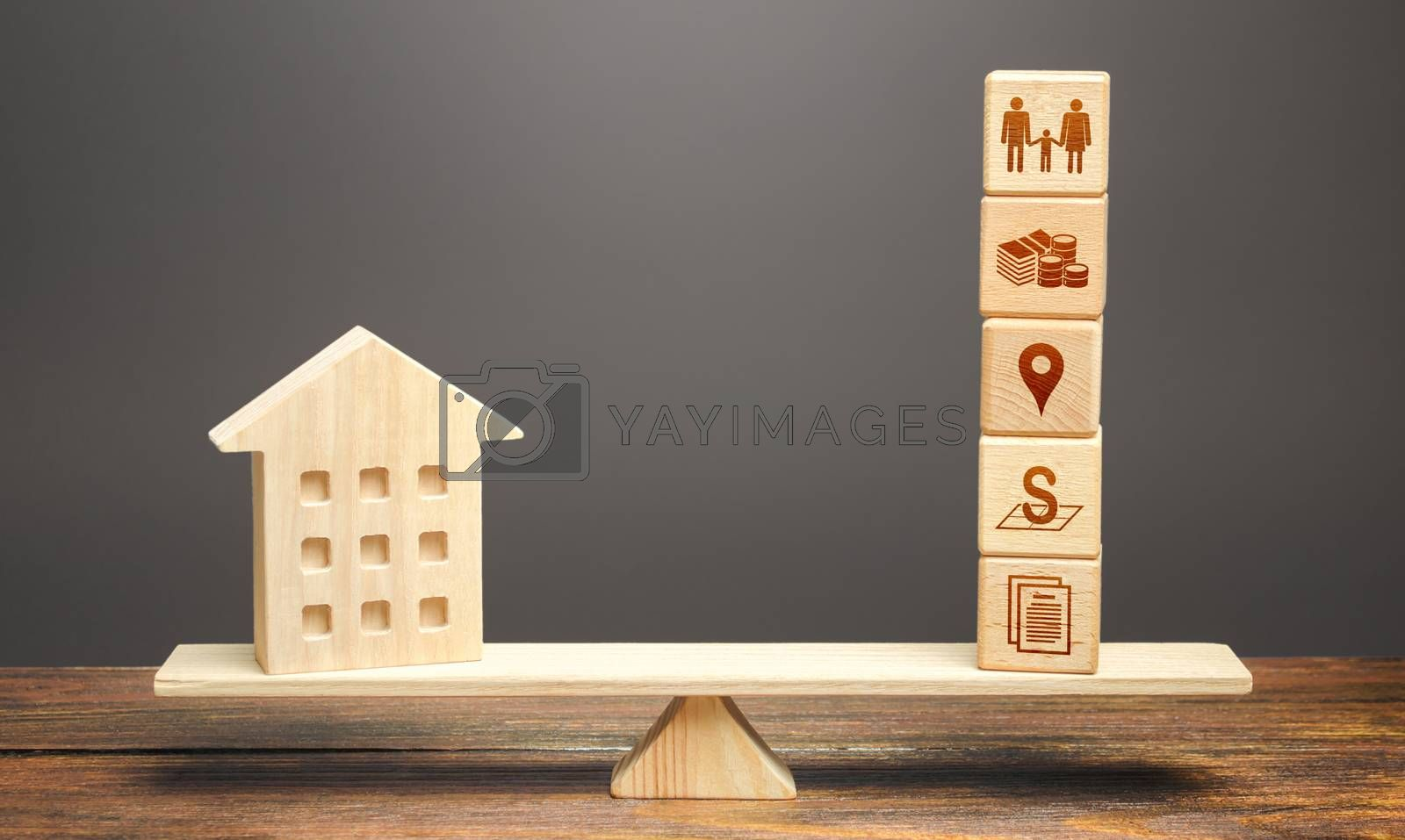 House and blocks of real estate parameters on scales. Searching for a suitable house by criteria. Realtor services. Price, area, location and infrastructure. The best home choice on the market.