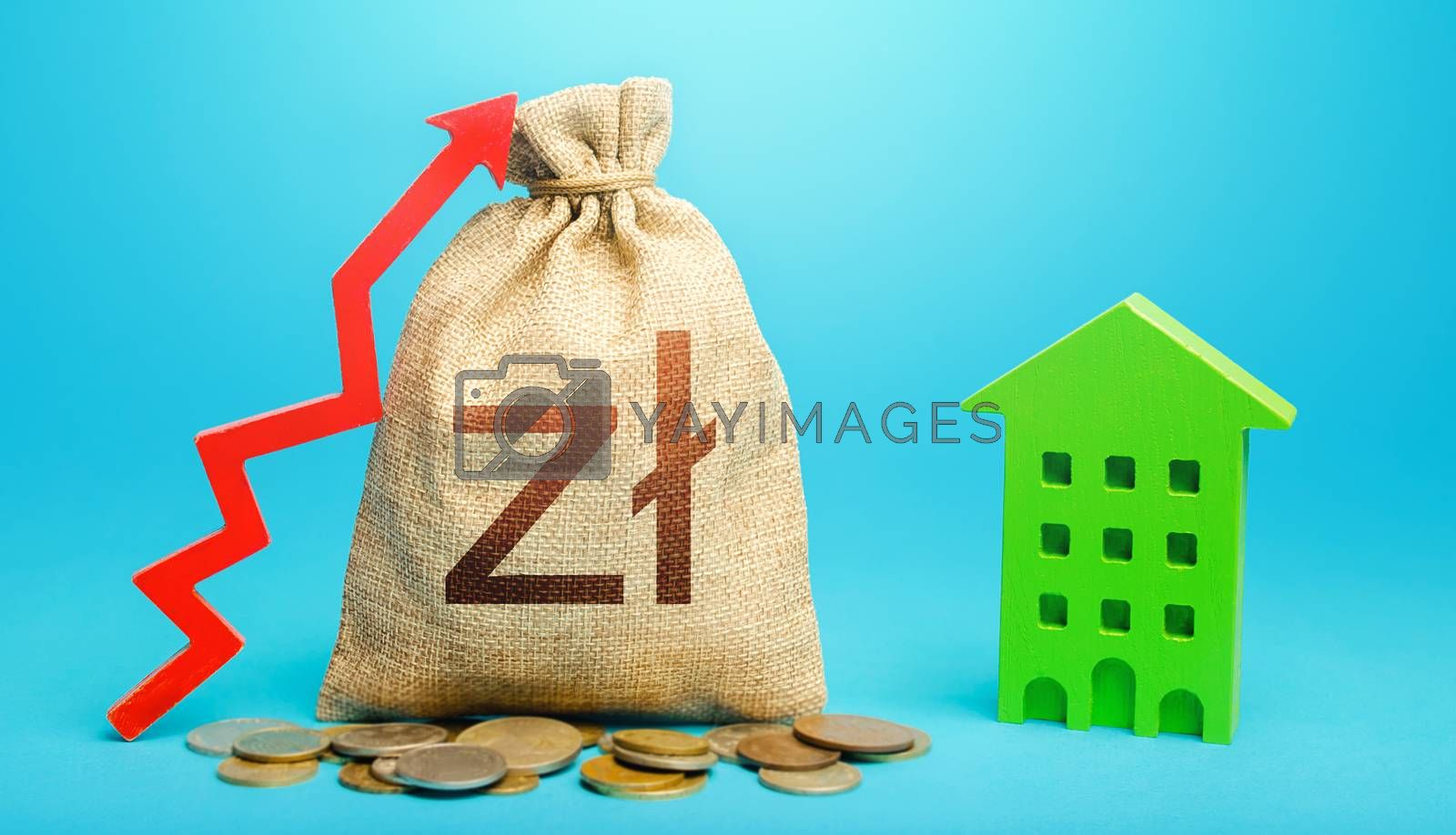 Polish zloty money bag with red up arrow and residential building. Increase in prices for apartments and housing. Recovery and growth in property cost. Municipal budget. Return on investment.