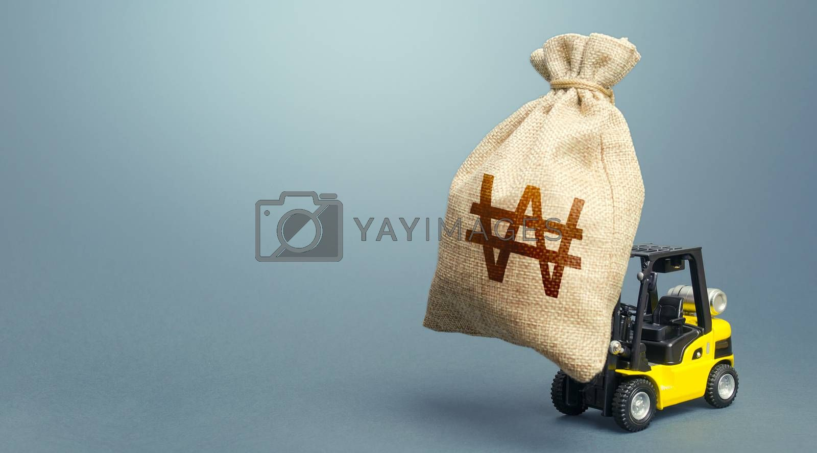 Forklift carrying a south korean won money bag. Strongest financial assistance, business support. Stimulating economy. Borrowing on capital market. Subsidies soft loans. Anti-crisis budget.