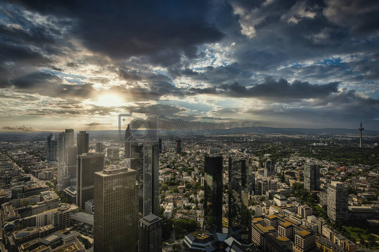 Frankfurt am Main, July 2019.  AAn aerial panoramic view of the city