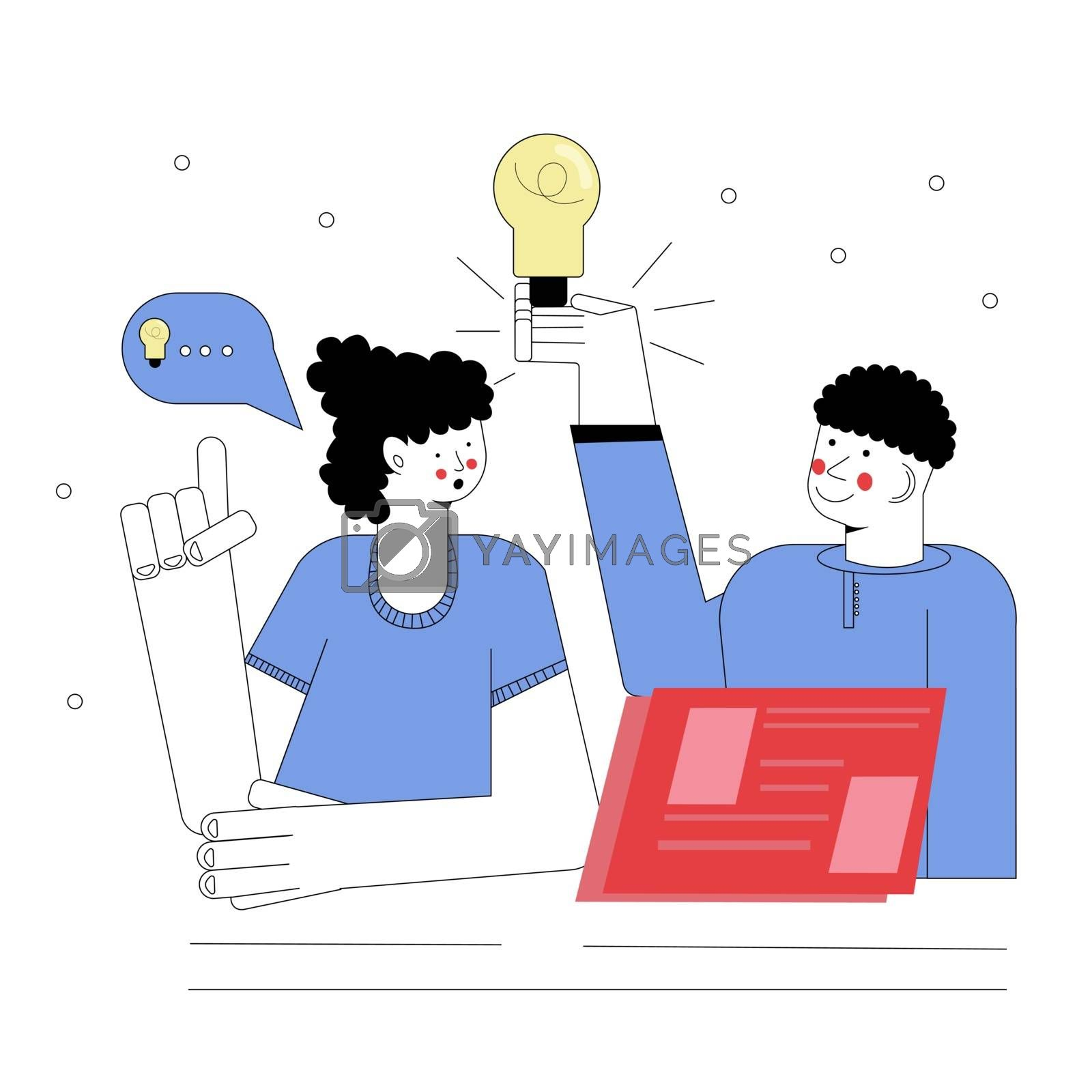 man and girl are discussing the idea. The girl makes the amendments. Brainstorm. Vector illustration