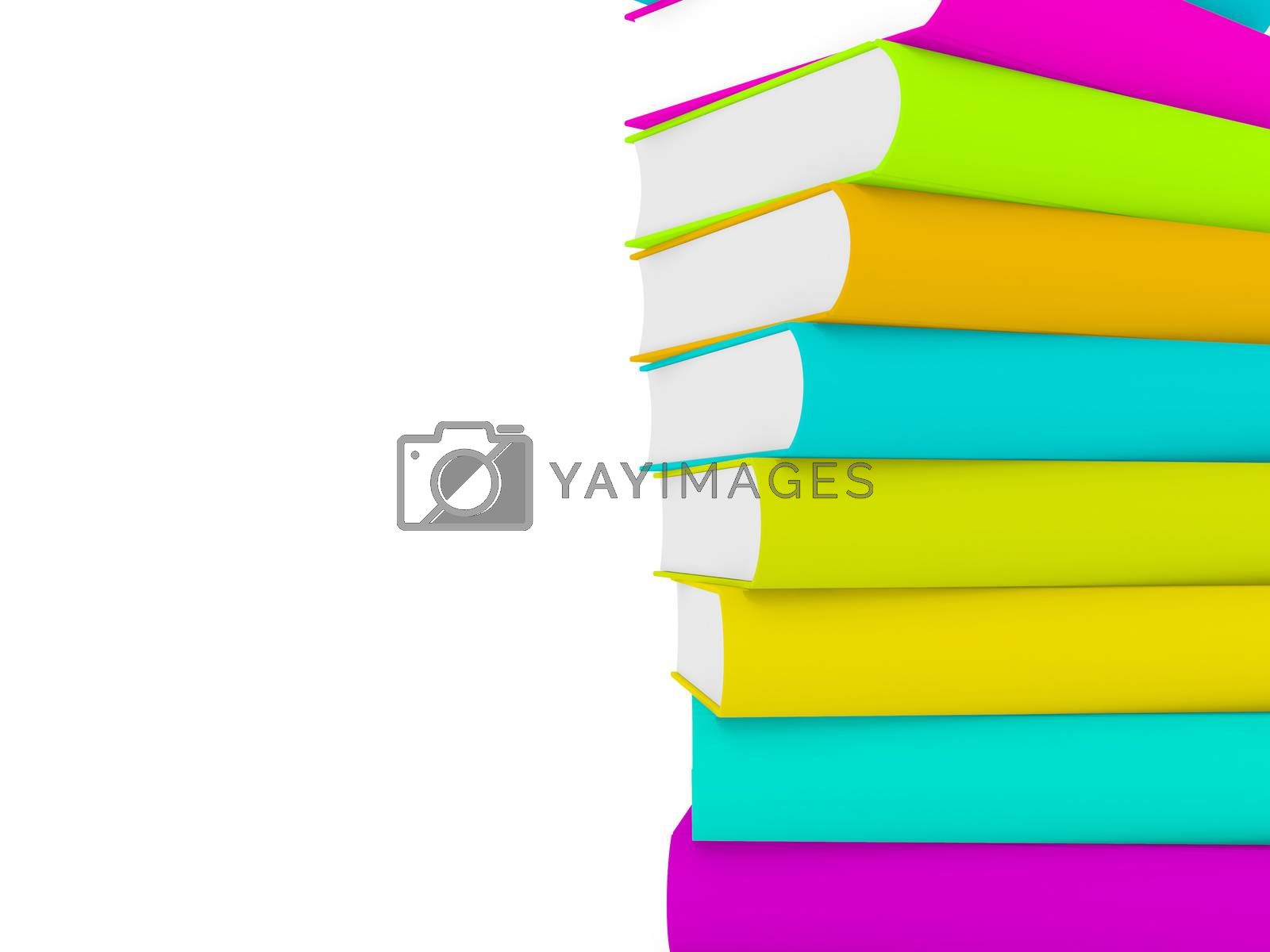 3d multicolored books, one over another