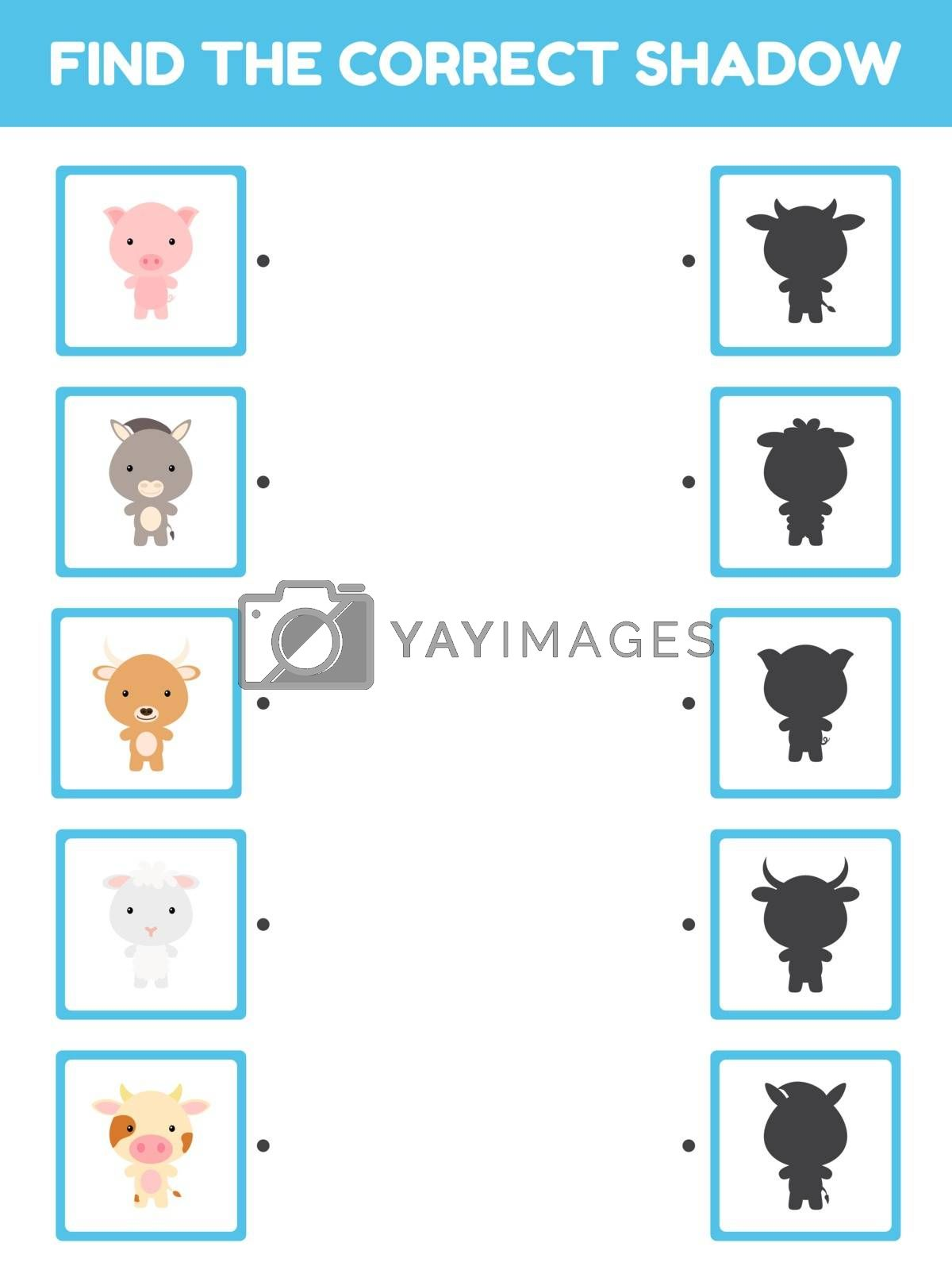 Game template find correct shadow. Matching game for children with farm cartoon animals. Kids activity page for book. Education developing worksheet. Logical thinking training. Vector illustration.