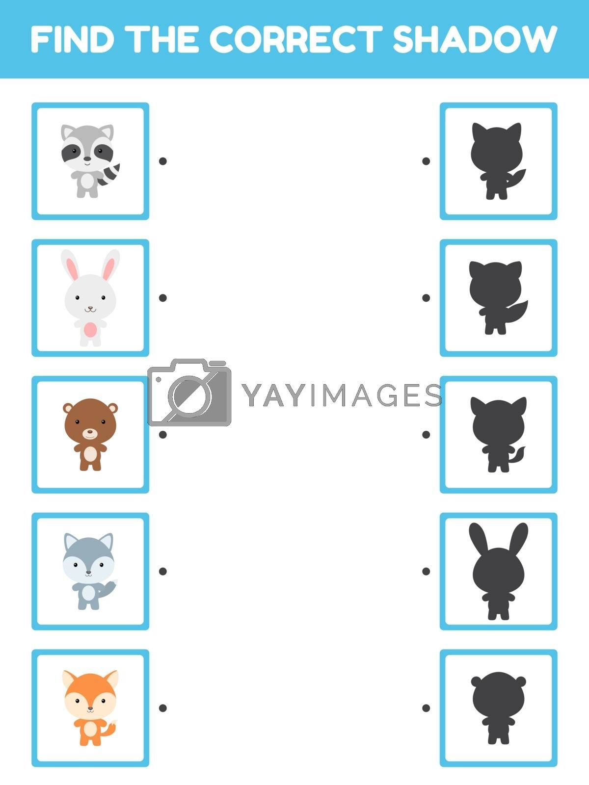 Game template find correct shadow. Matching game for children with forest cartoon animals. Kids activity page for book. Education developing worksheet. Logical thinking training. Vector illustration.