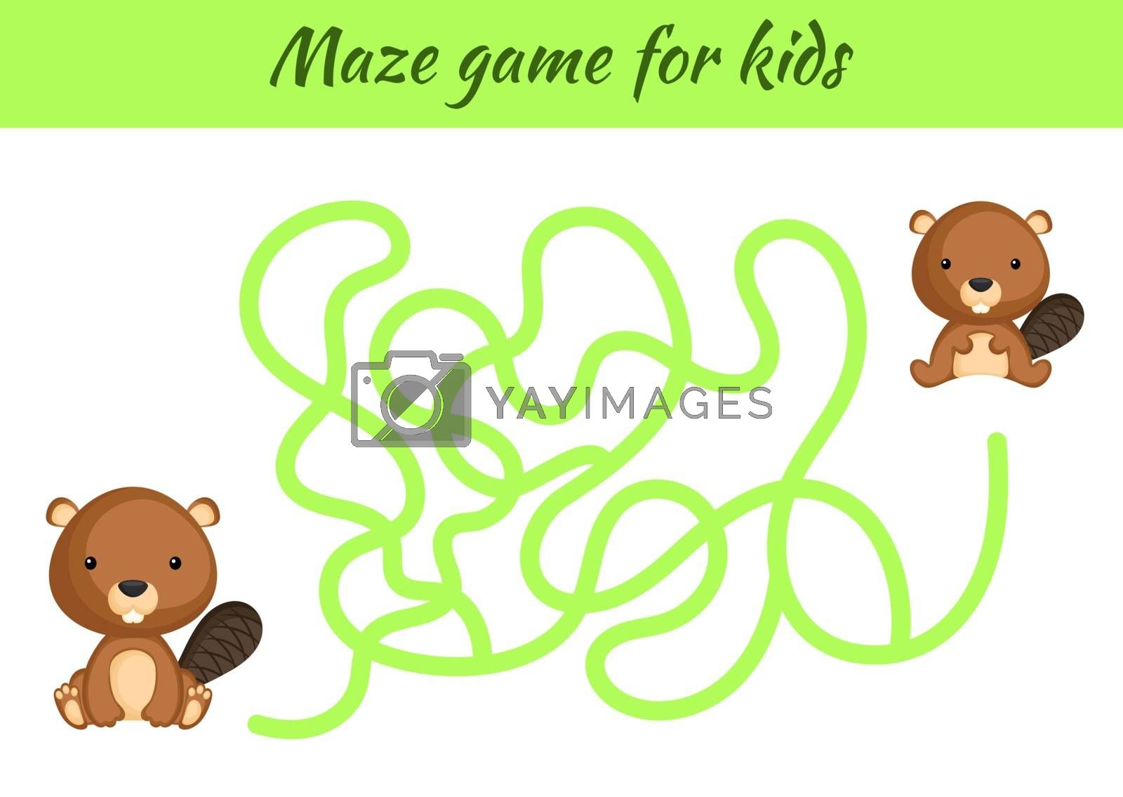 Funny maze or labyrinth game for kids. Help mother find path to baby. Education developing worksheet. Activity page. Cartoon beaver characters. Riddle for preschool. Color vector stock illustration.
