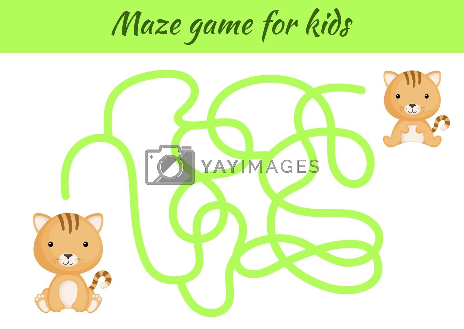 Funny maze or labyrinth game for kids. Help mother find path to baby. Education developing worksheet. Activity page. Cartoon cat characters. Riddle for preschool. Color vector stock illustration.