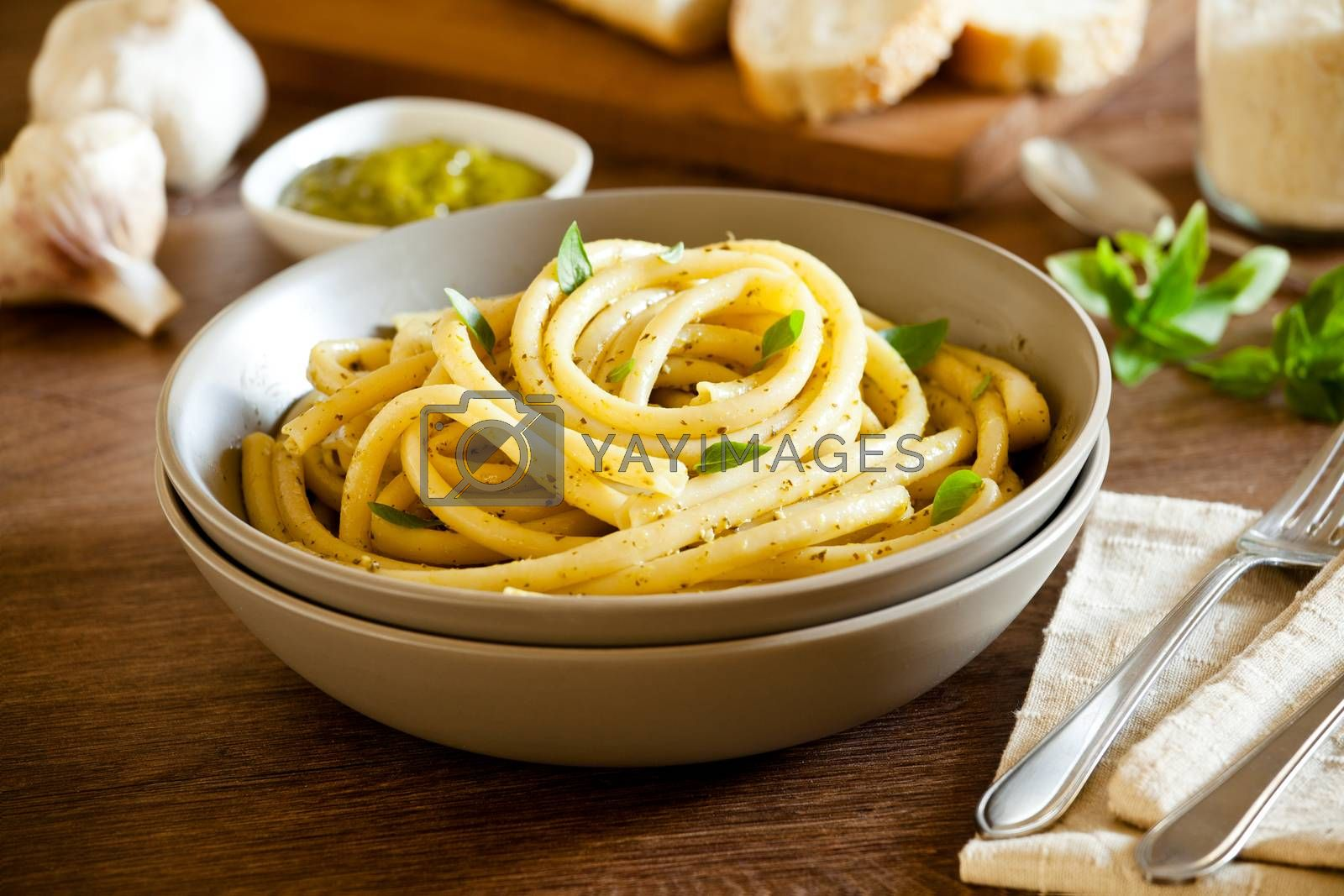 Bowl of pasta with homemade pesto sauce