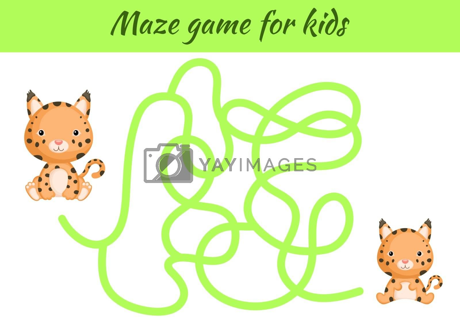 Funny maze or labyrinth game for kids. Help mother find path to baby. Education developing worksheet. Activity page. Cartoon lynx characters. Riddle for preschool. Color vector stock illustration.