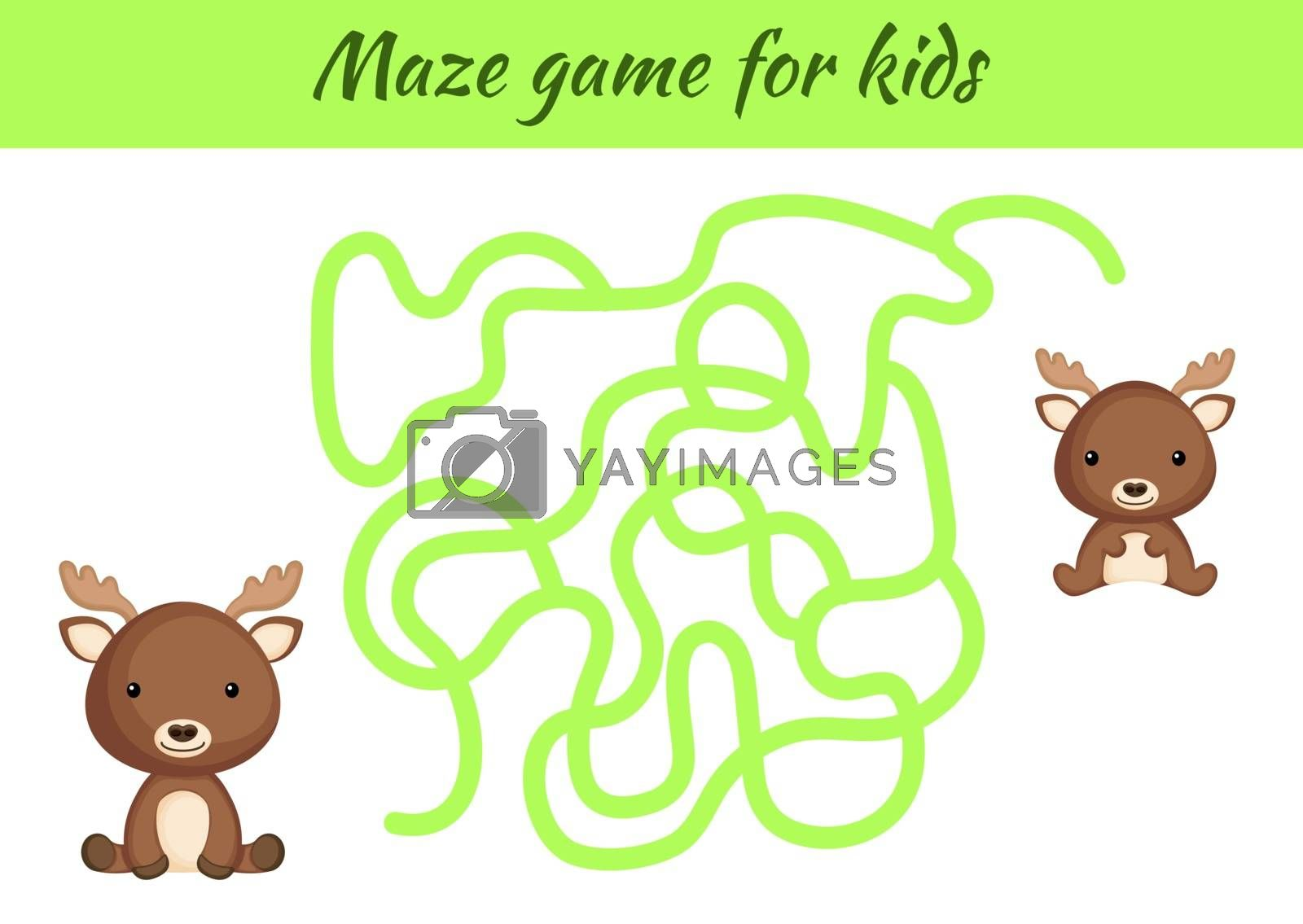 Funny maze or labyrinth game for kids. Help mother find path to baby. Education developing worksheet. Activity page. Cartoon moose characters. Riddle for preschool. Color vector stock illustration.