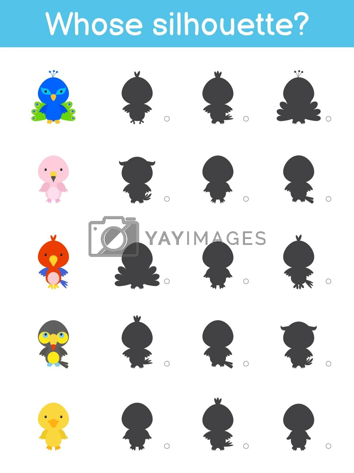 Whose silhouette game template. Matching game for children with cute cartoon bids. Kids activity page. Education developing worksheet. Logical thinking training. Vector stock illustration.