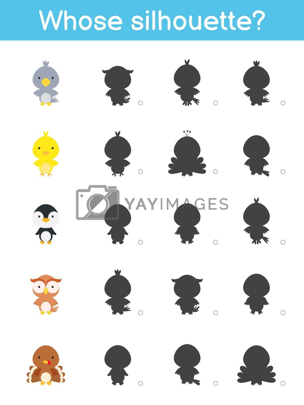 Whose silhouette game template. Matching game for children with cute cartoon birds. Kids activity page. Education developing worksheet. Logical thinking training. Vector stock illustration.