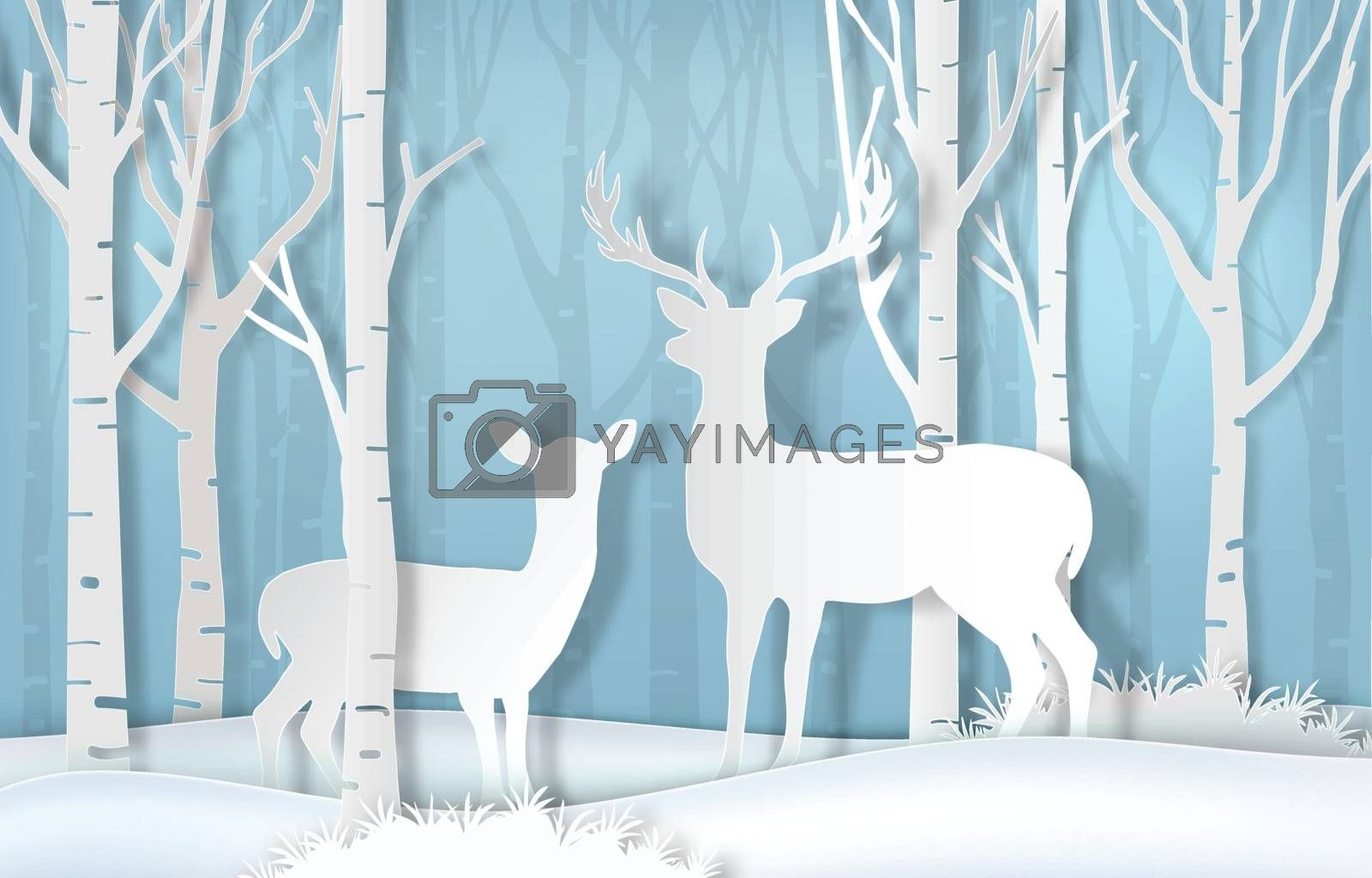 Deer standing in forest. Nature background  paper art style by Kheat
