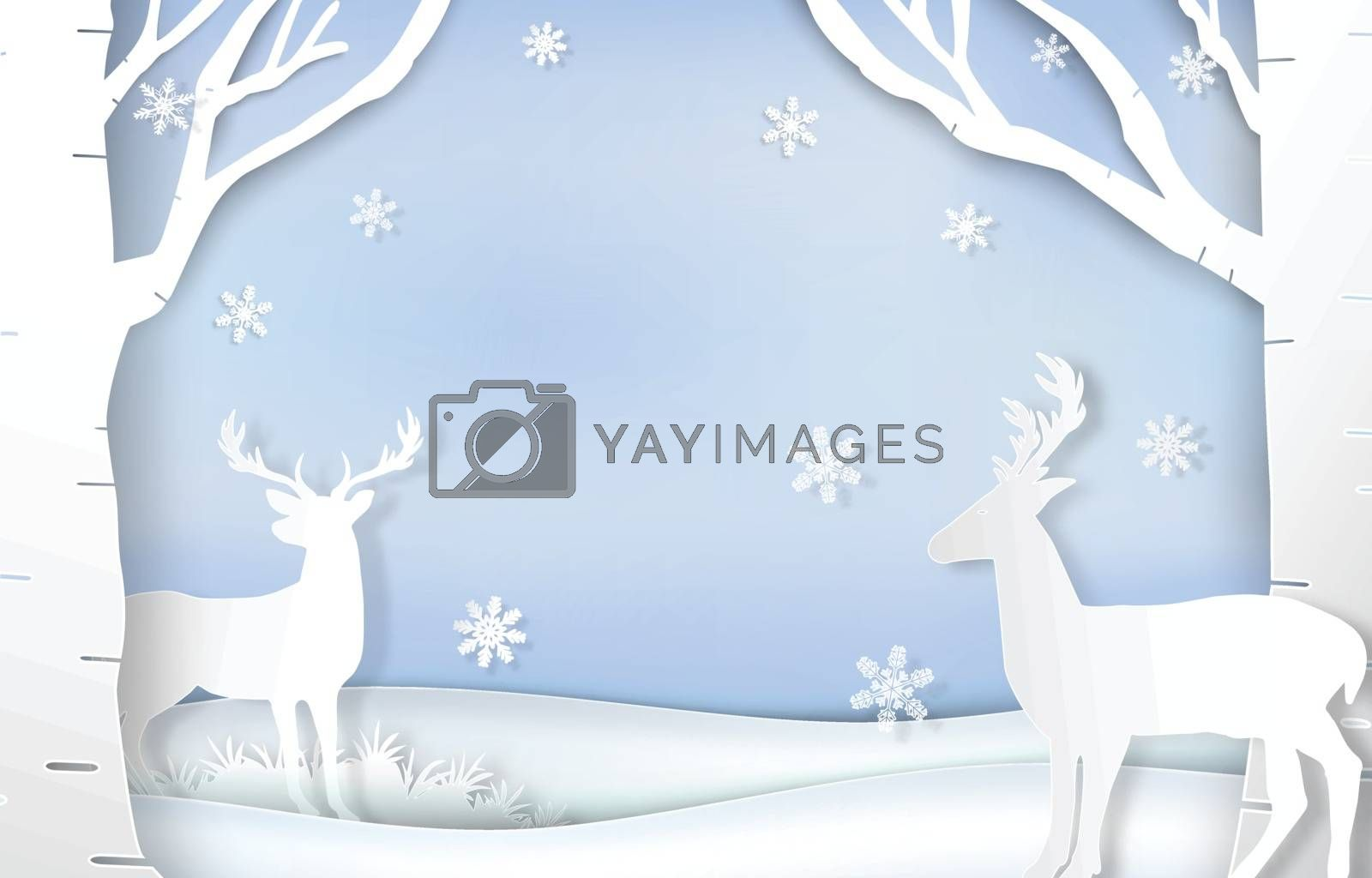 Paper art of reindeer and snowflake Christmas background illustration