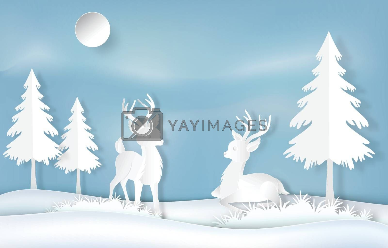 Paper art of reindeer and pine tree on blue sky background illus by Kheat
