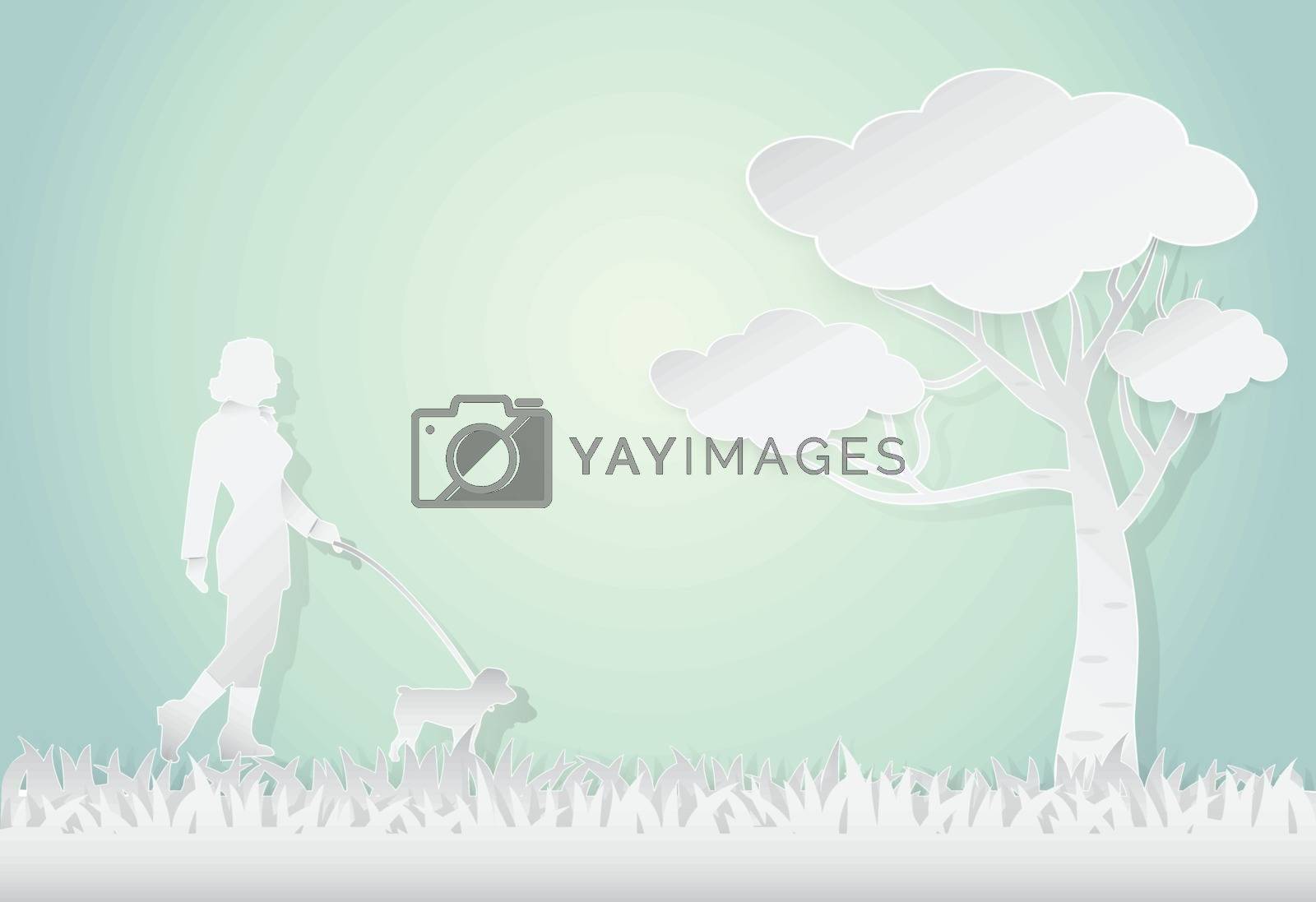 Young woman walking with poodle dog, landscape background, paper art style illustration