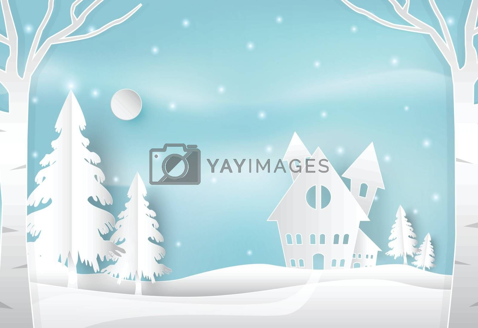 Winter holiday and snow in countryside with blue. Christmas seas by Kheat