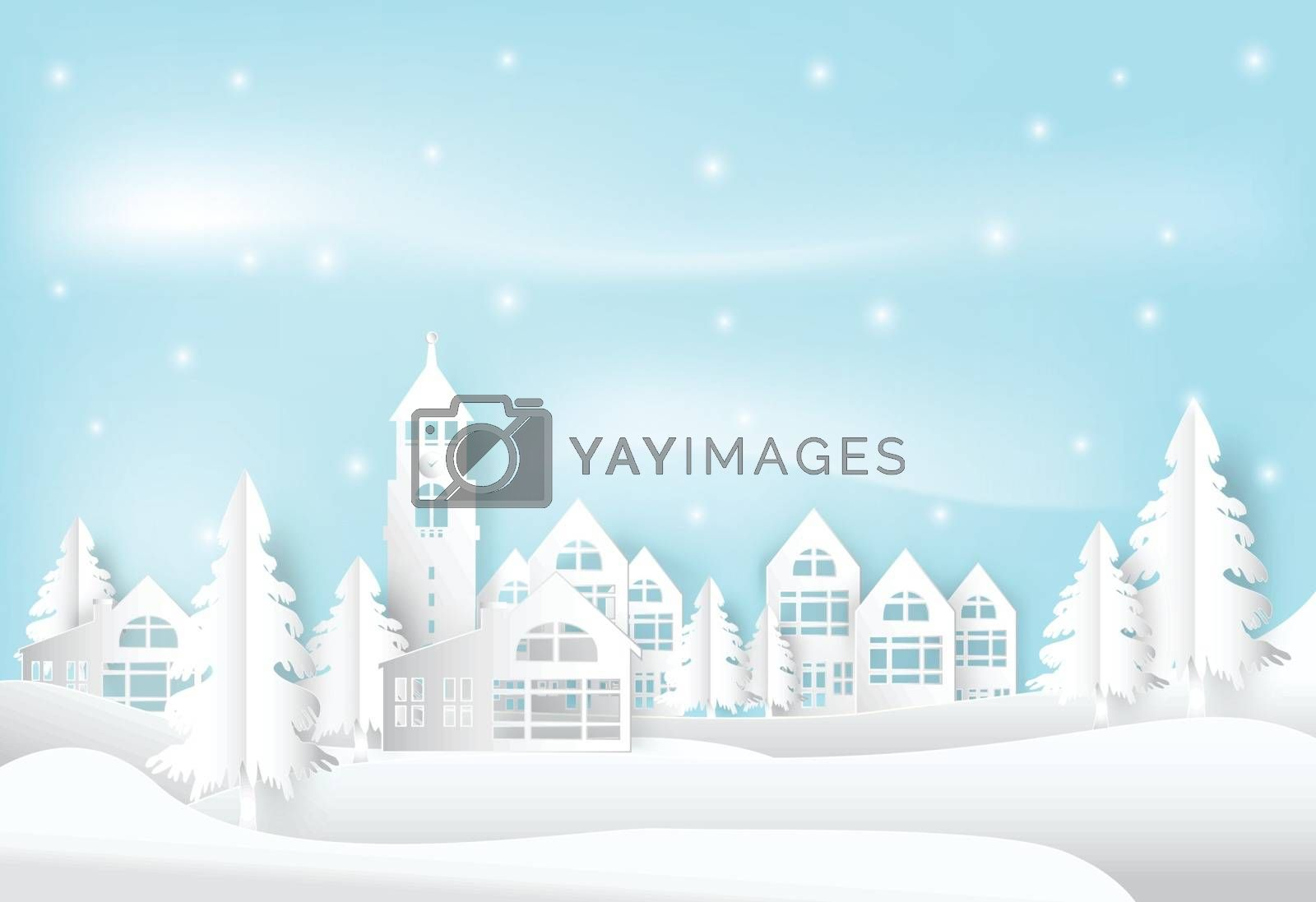 Winter holiday and snow in city town with blue sky background. C by Kheat