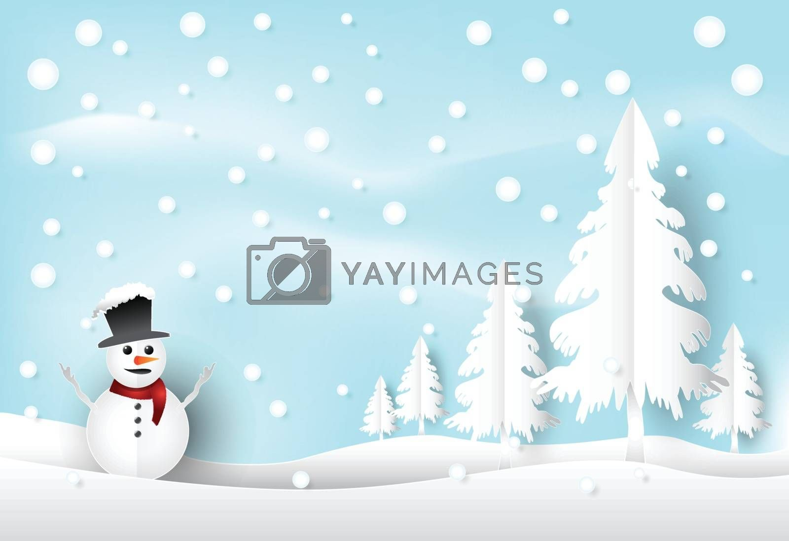 Winter holiday snow and snowman with blue sky background. Christ by Kheat