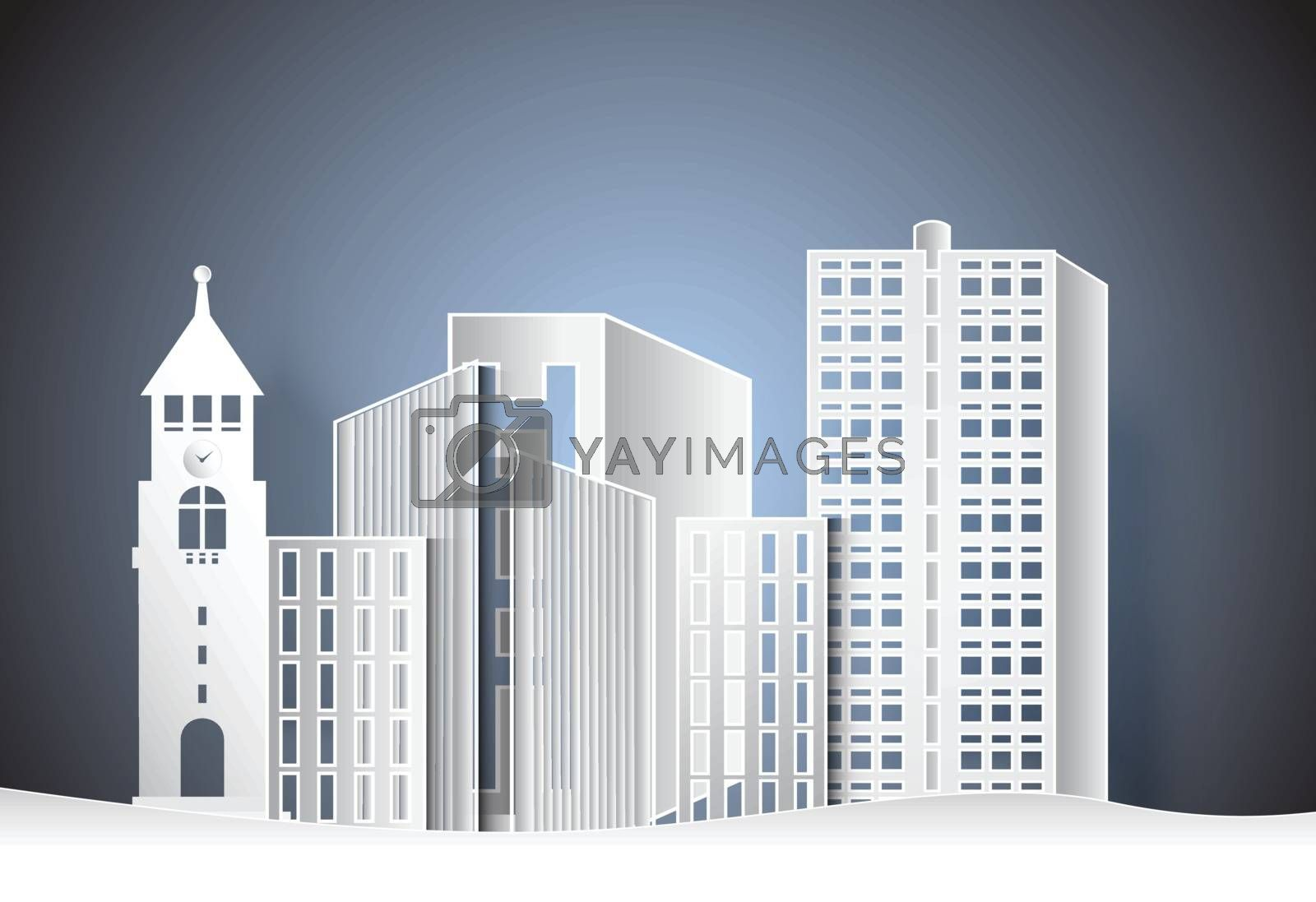 Building office in the city,  paper art style illustration.