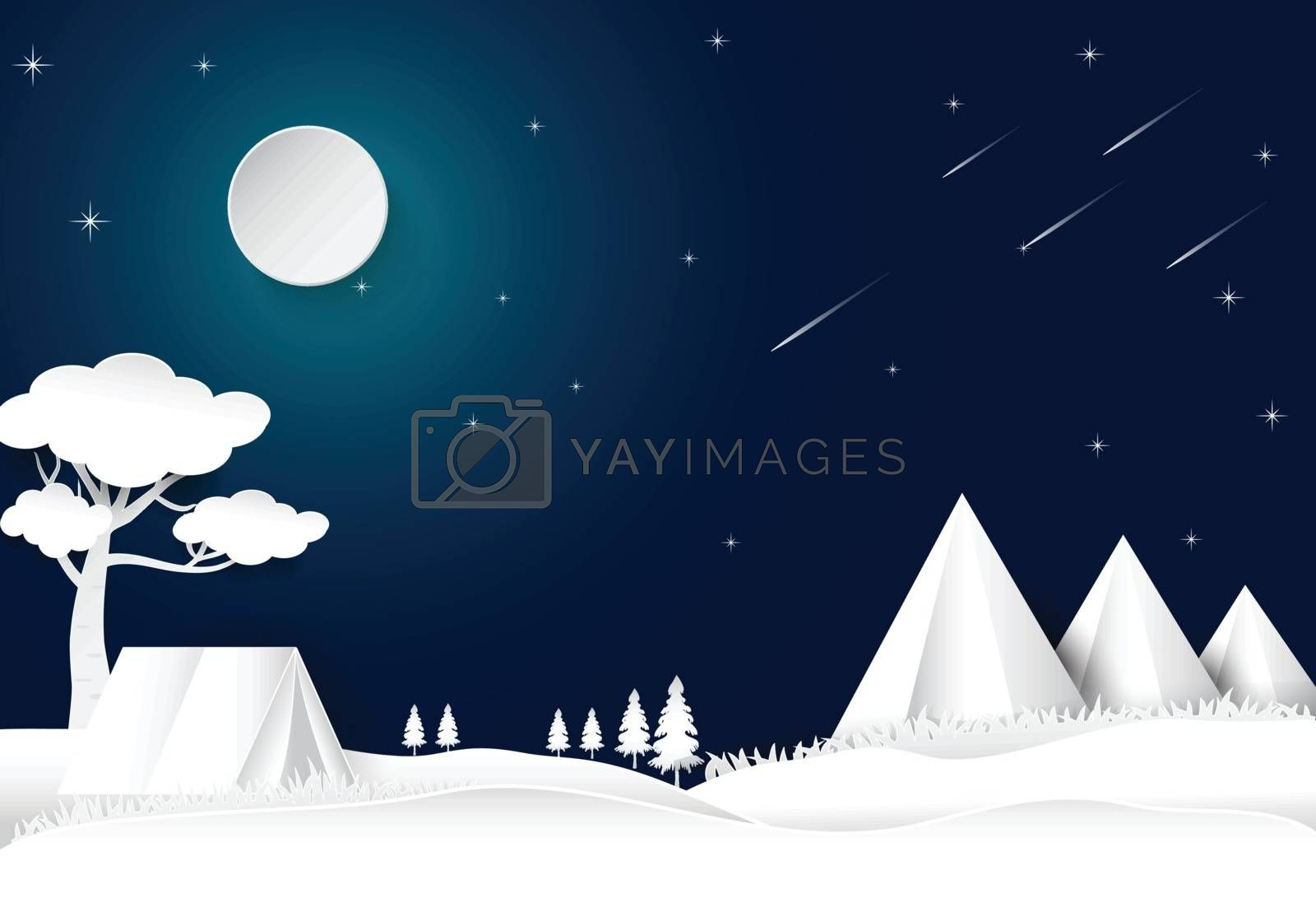 Camping on hill night sky with star and comet, landscape background, paper art style illustration