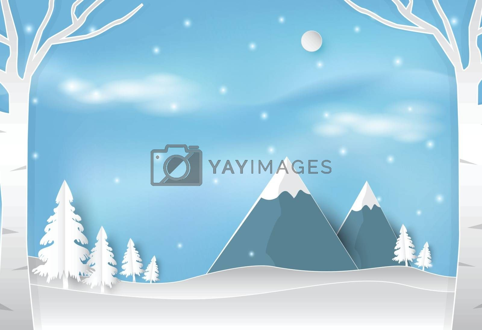 Winter and snow in forest with blue sky landscape nature backgro by Kheat
