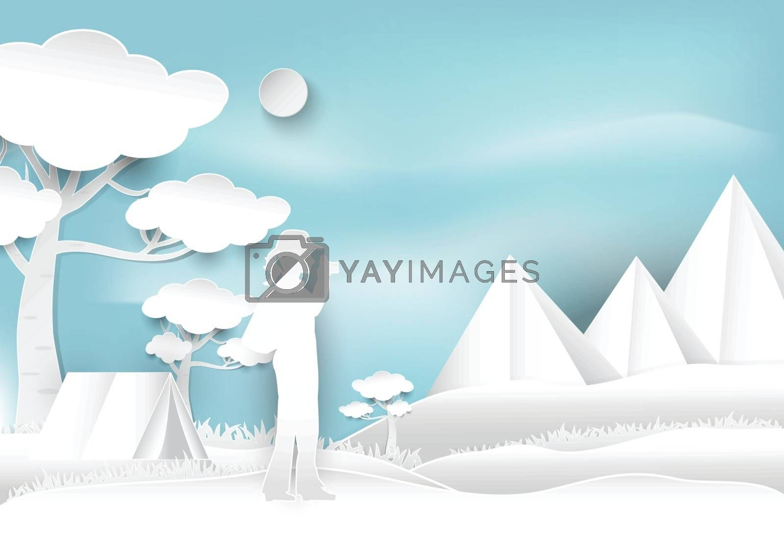 Woman take a photo and camping on hill in the forest, paper art  by Kheat