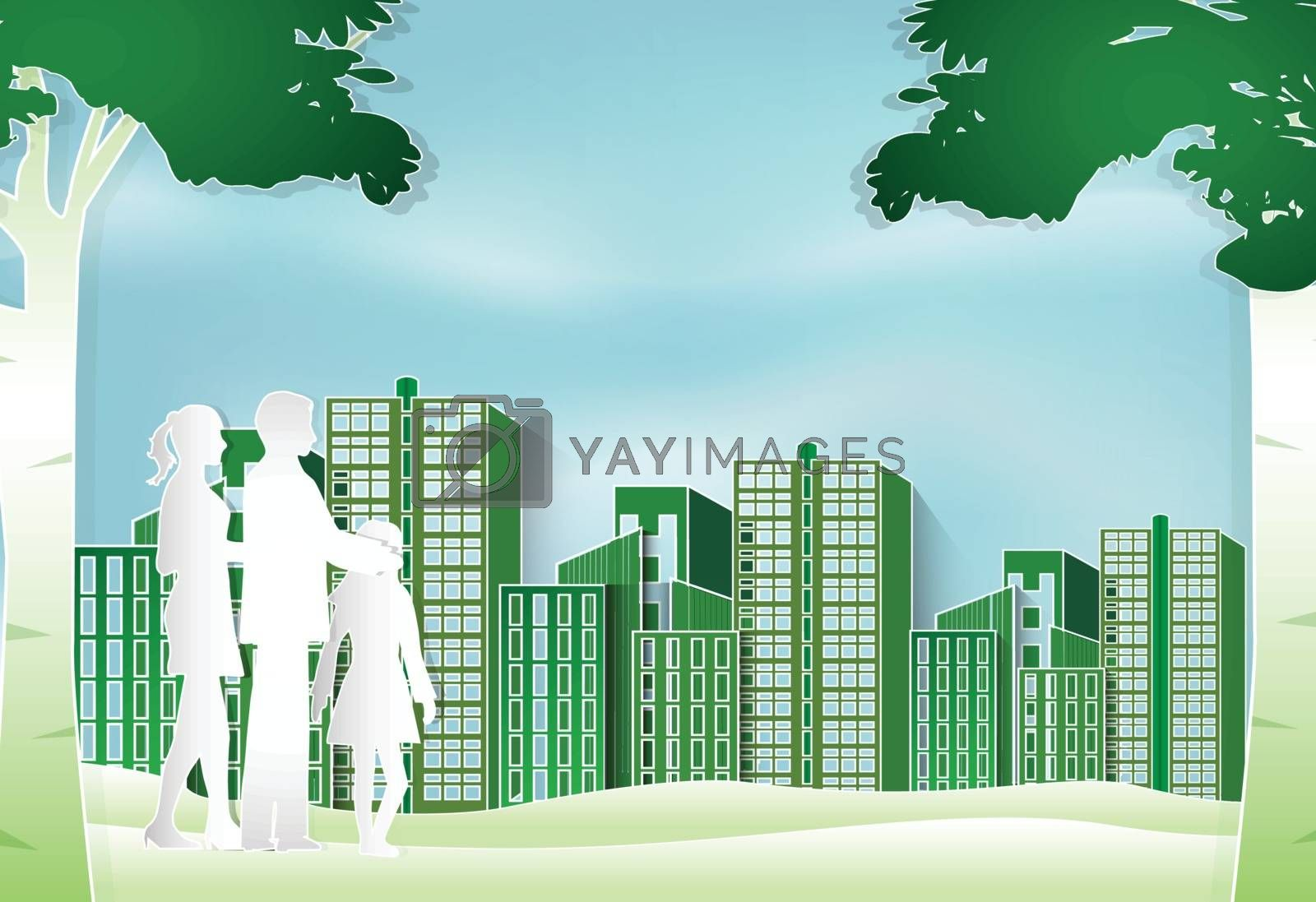 Family standing in the park and green building urban lifestyle,  by Kheat