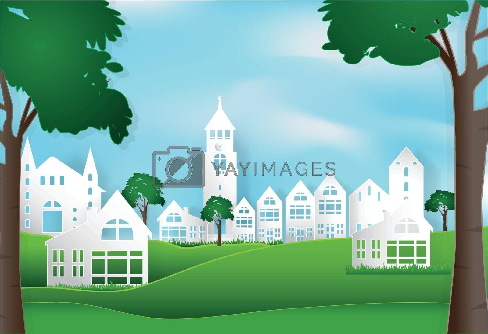 Spring season with blue sky peaceful and relaxing in city town b by Kheat