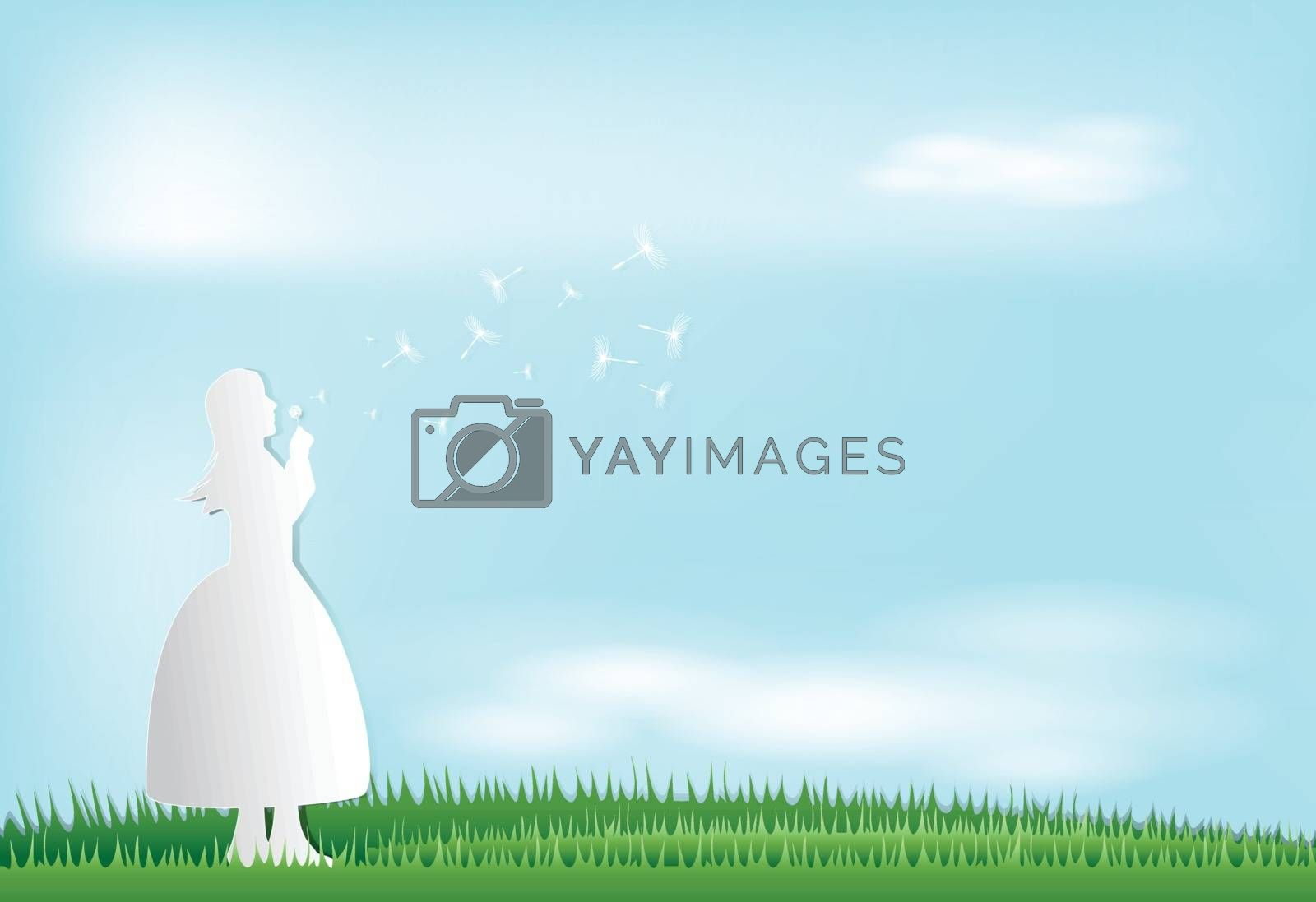 Lady blowing dandelion in meadow, nature background, paper art style illustration
