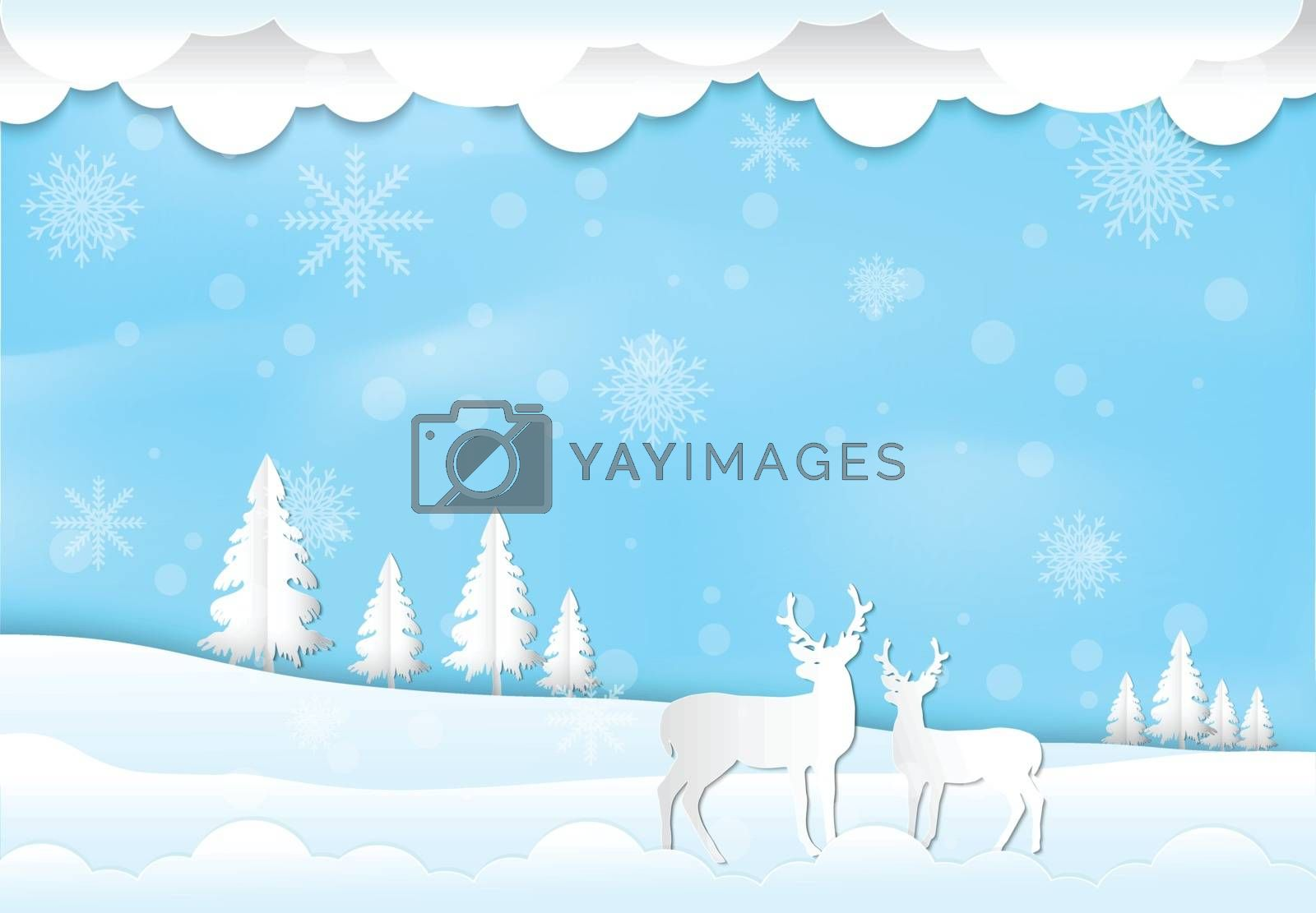 Winter holiday with blue sky background. Christmas season paper  by Kheat