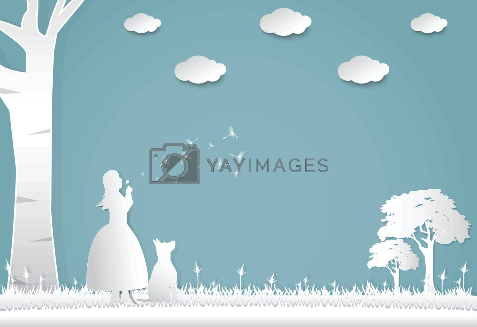 Girl blowing dandelion in meadow, nature background, paper art style illustration