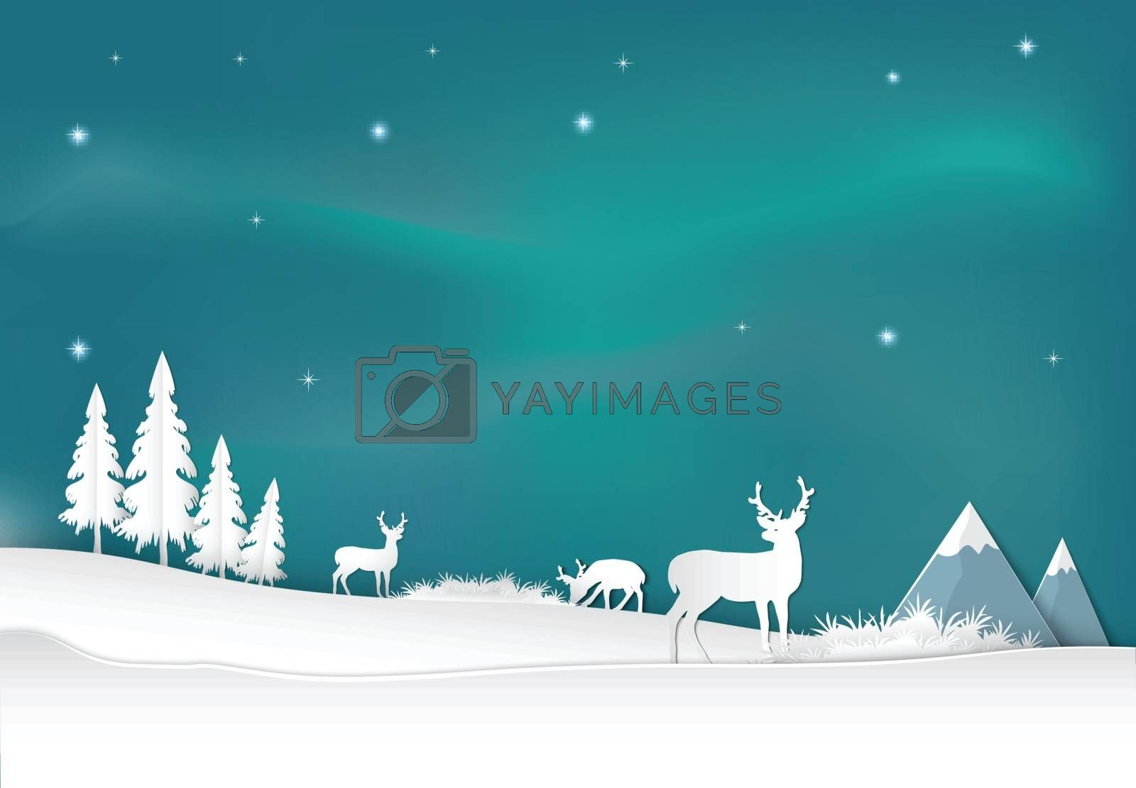 Deer with aurora background. Christmas season paper art style illustration.