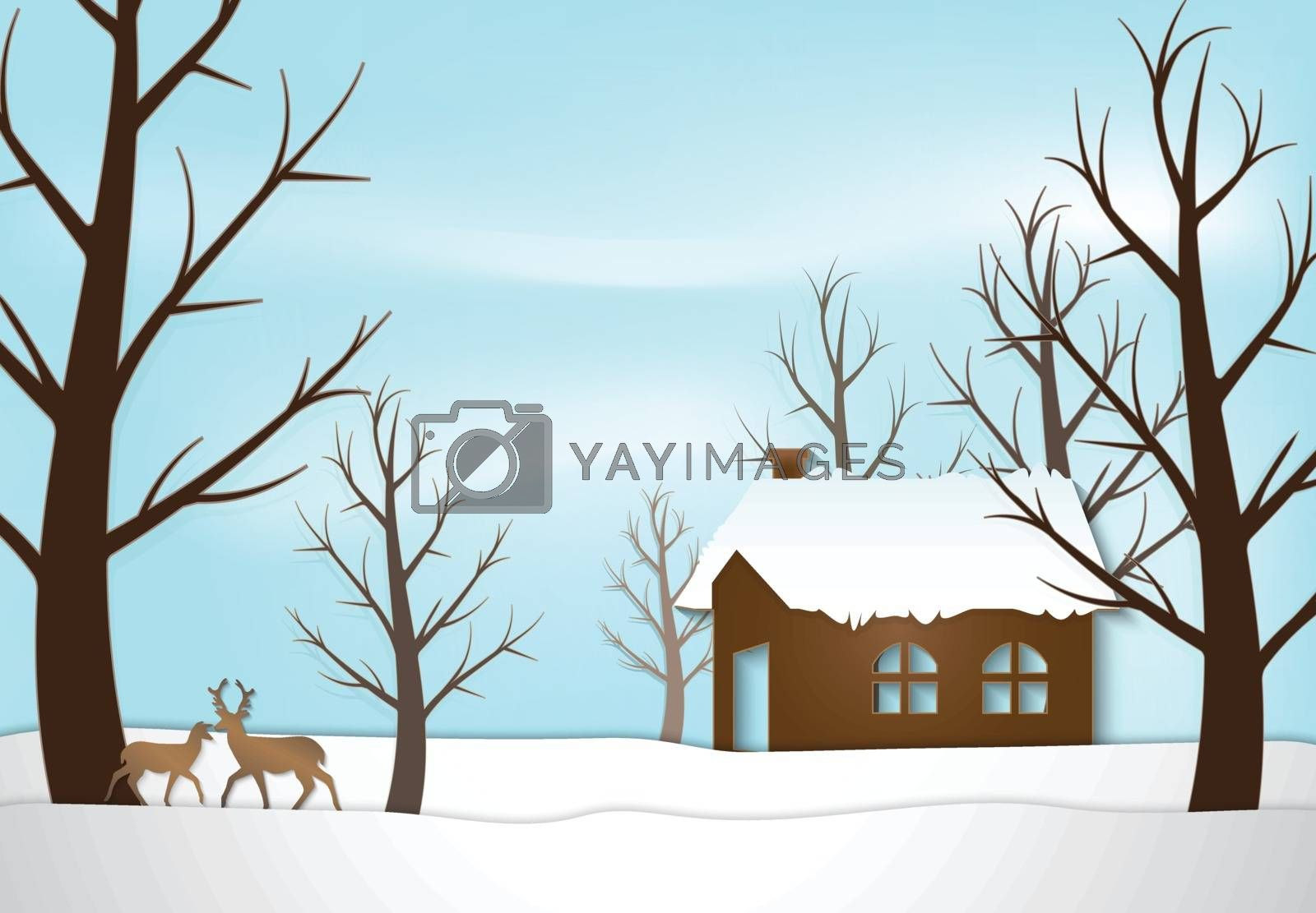 Cottage and deer Christmas season background paper art style illustration.