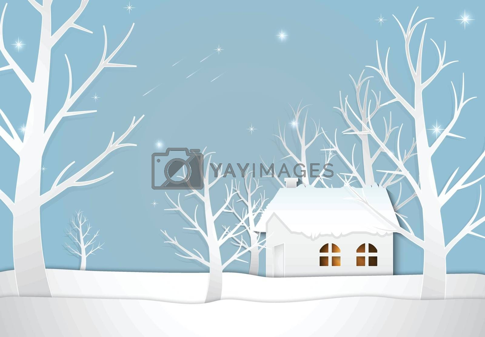 Cottage with star and comet on night sky, Christmas season background paper art style illustration.