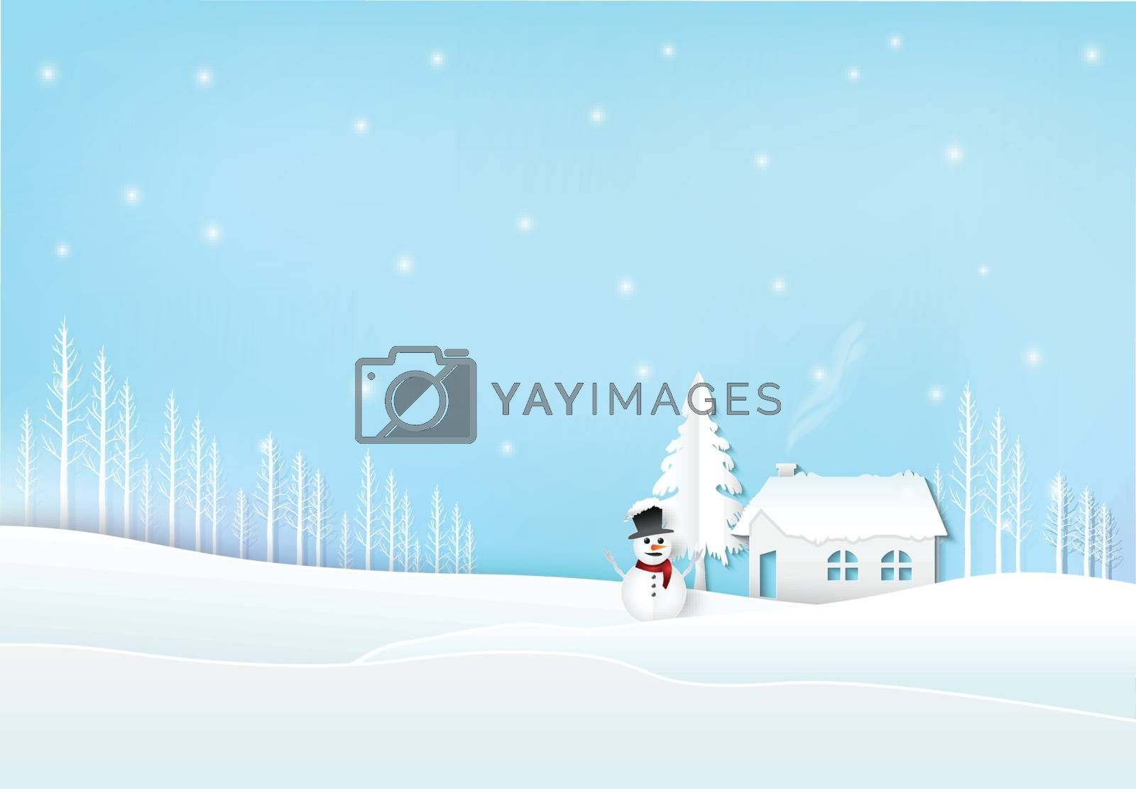 Winter holiday cottage with snow and snowman. Christmas season paper art style illustration.
