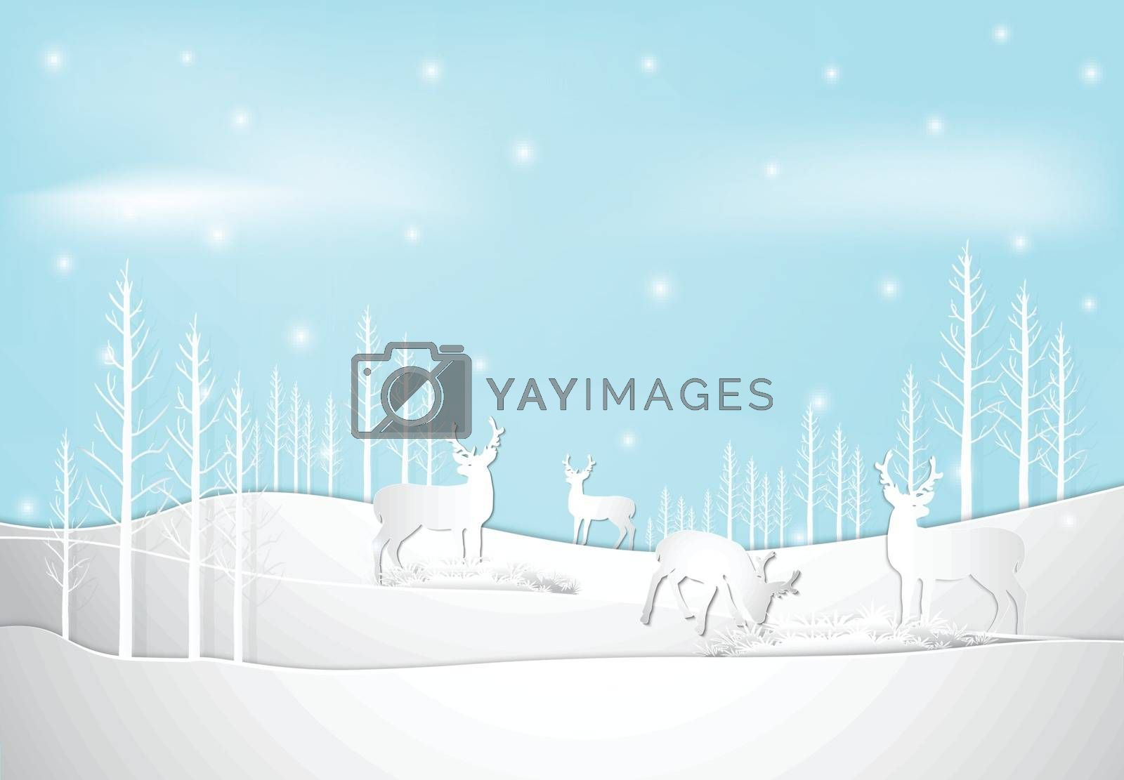 Winter holiday deer with snow and blue sky background. Christmas season paper art style illustration.