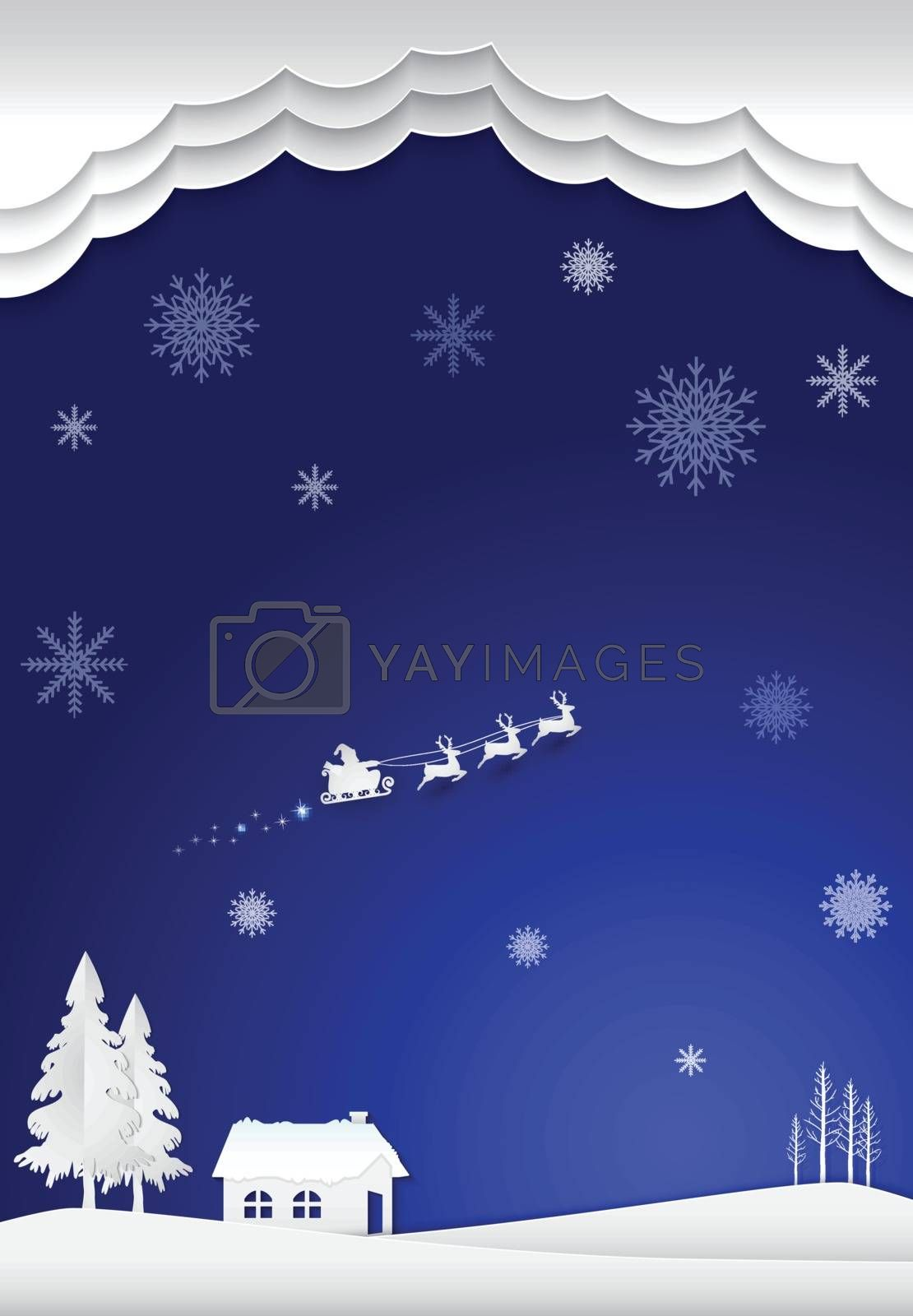 Cottage with santa and snowflake in winter on blue background. C by Kheat
