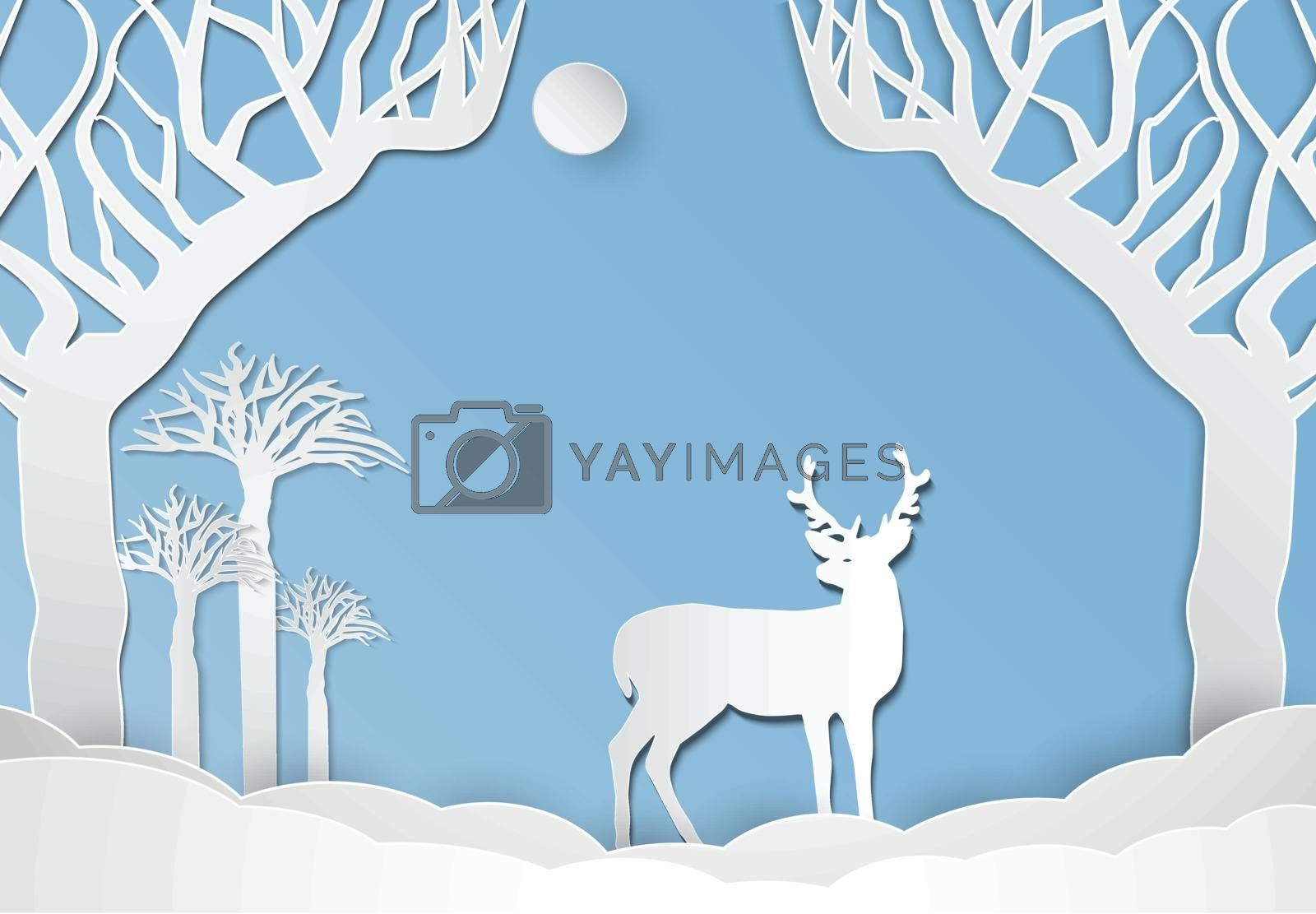 Deer standing in meadow. Nature landscape background  paper art  by Kheat