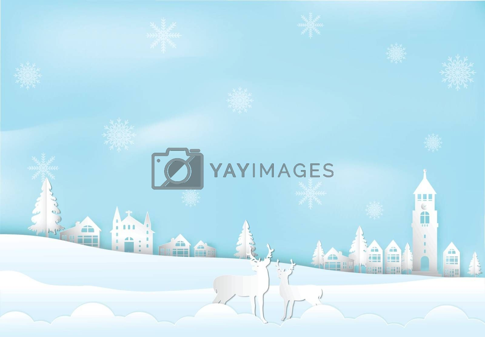 Winter holiday and snow flake in city town with deer background. by Kheat