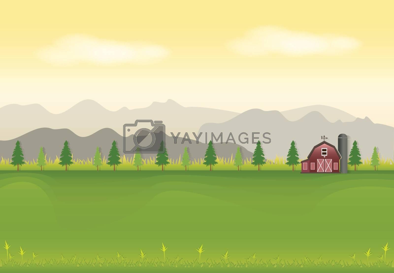 Red barn in field landscape background, paper art style illustration