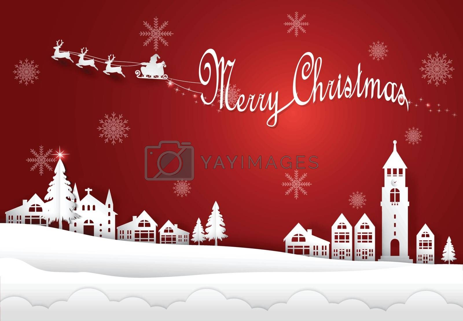 Winter holiday Santa and snow flake in city town on red background. Christmas season paper art style illustration.