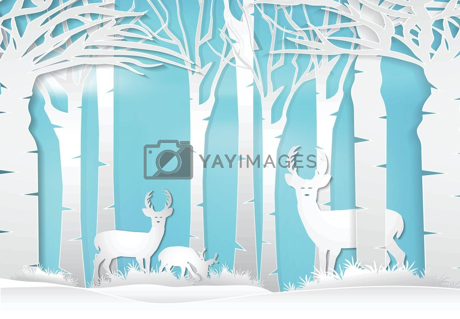 Deer standing in forest. Nature landscape background  paper art  by Kheat