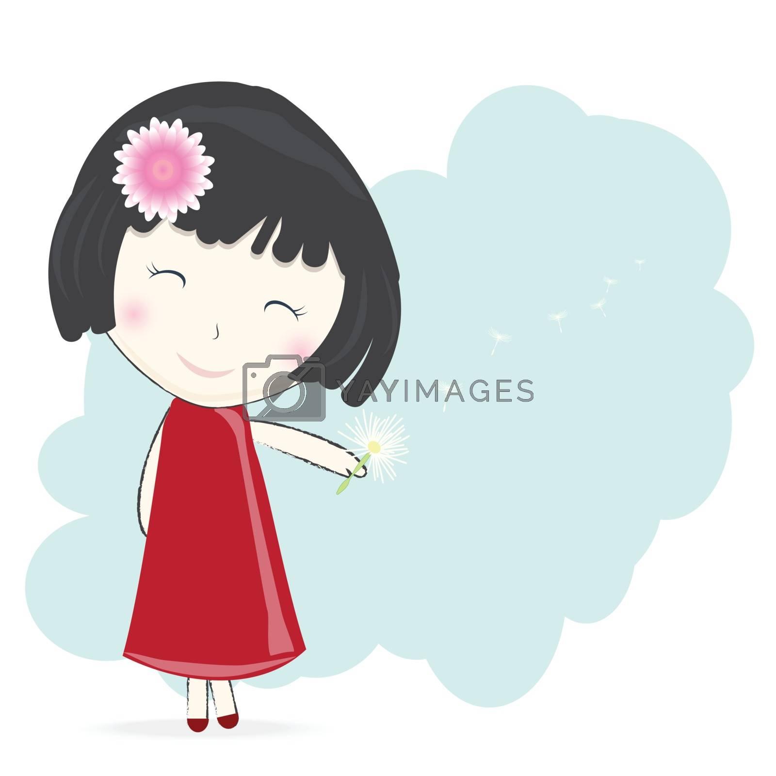 Girl with dandelion flower on green background