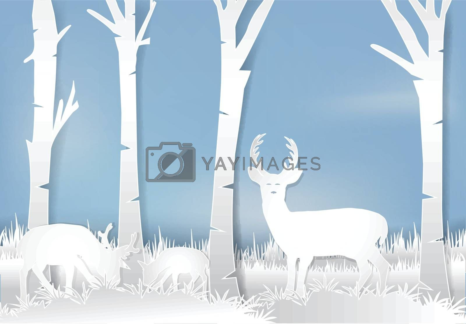 Deer standing in meadow. Nature landscape background  paper art style illustration.