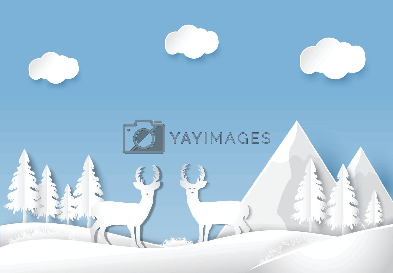 Deer standing in forest. Nature landscape background  paper art style illustration.