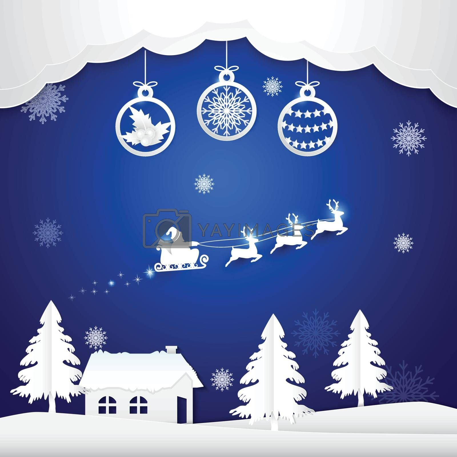 Winter holiday Santa and ball decoration Christmas season paper art, paper cut style illustration.