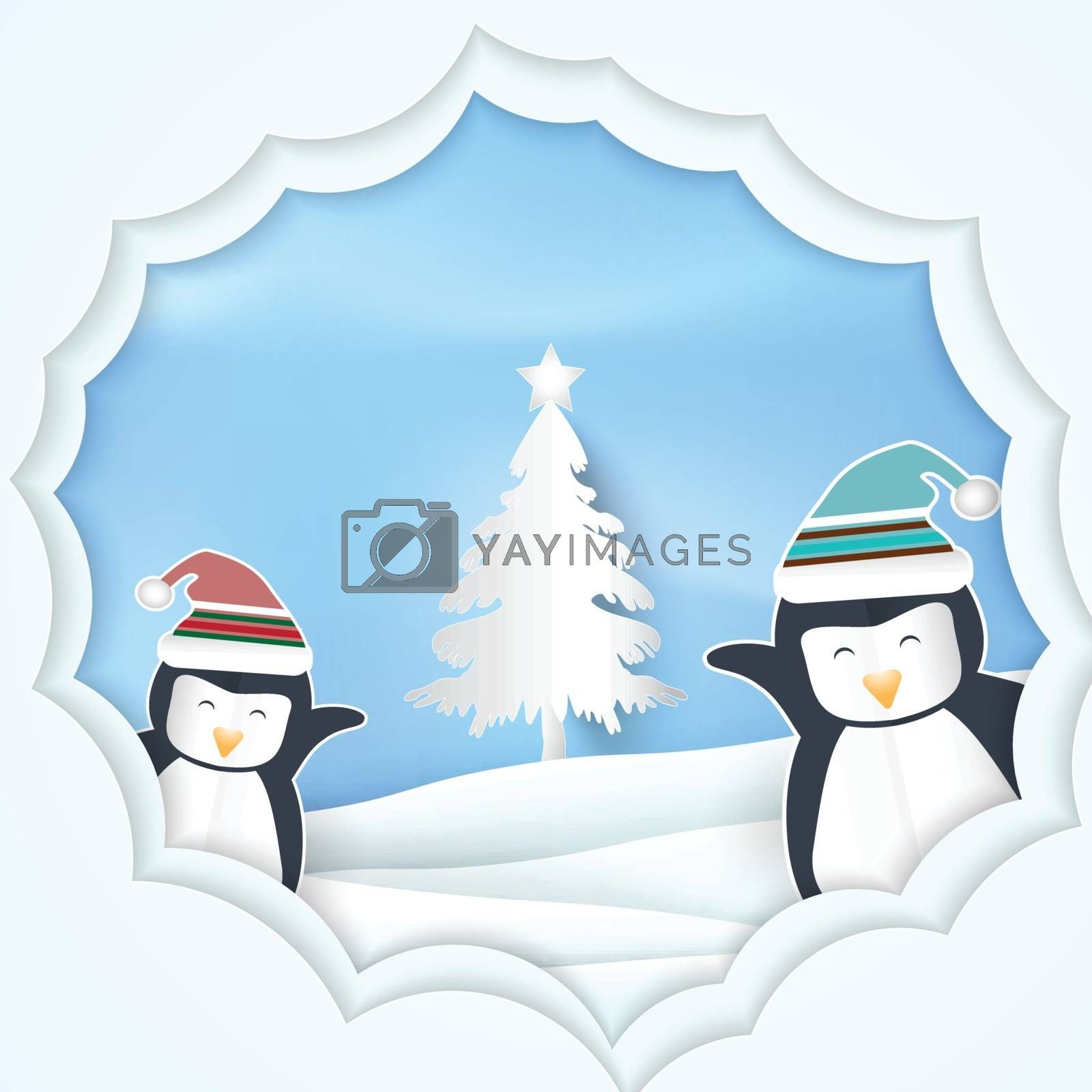 Paper art illustration of Penguin with pine tree Christmas season Paper cut style