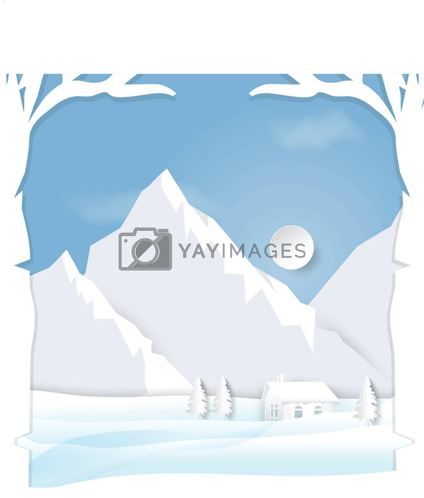 Winter season with  mountain cabins scenes background paper art style