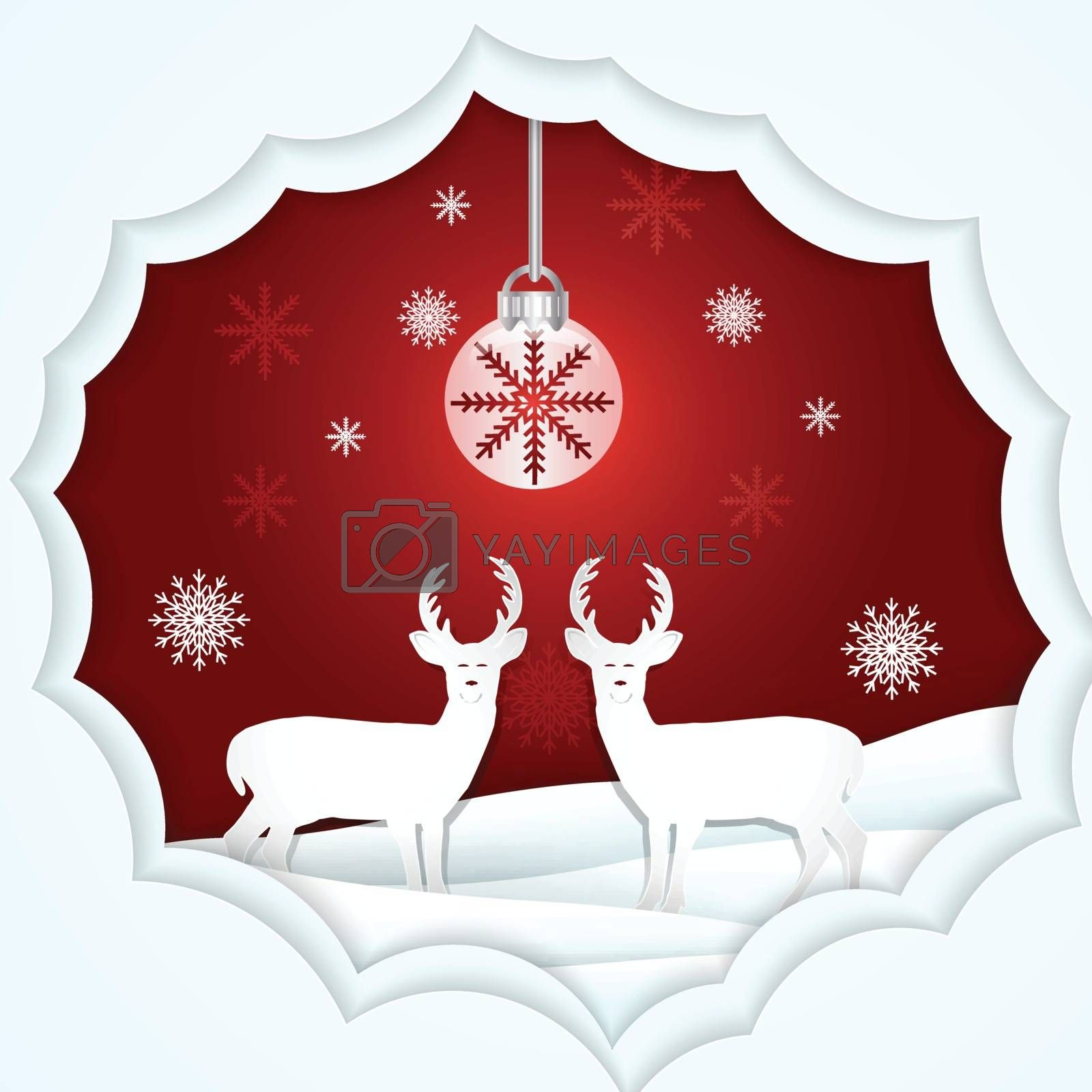 Paper art illustration of Deer and snowflake, Christmas season red background paper cut style
